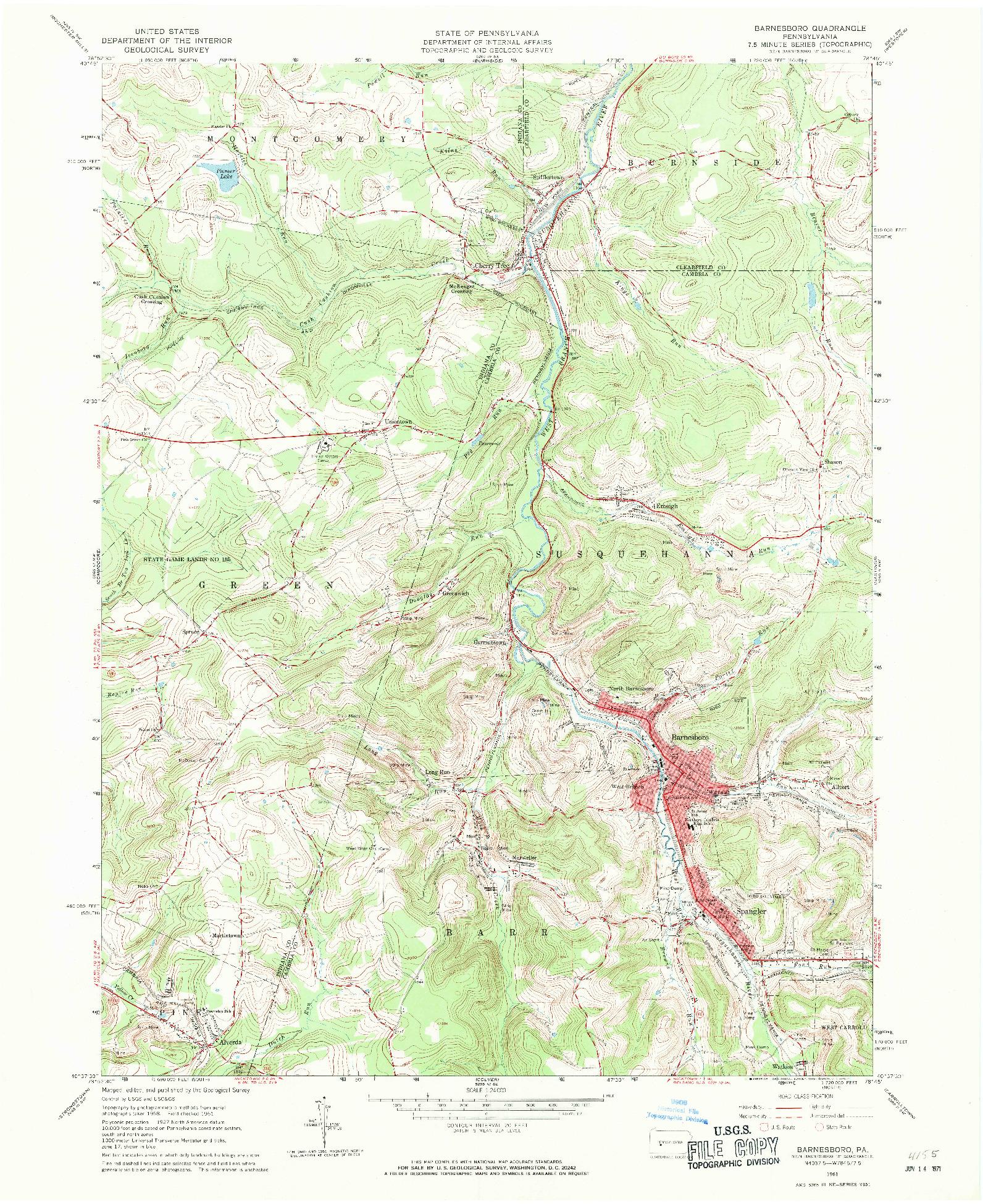 USGS 1:24000-SCALE QUADRANGLE FOR BARNESBORO, PA 1961