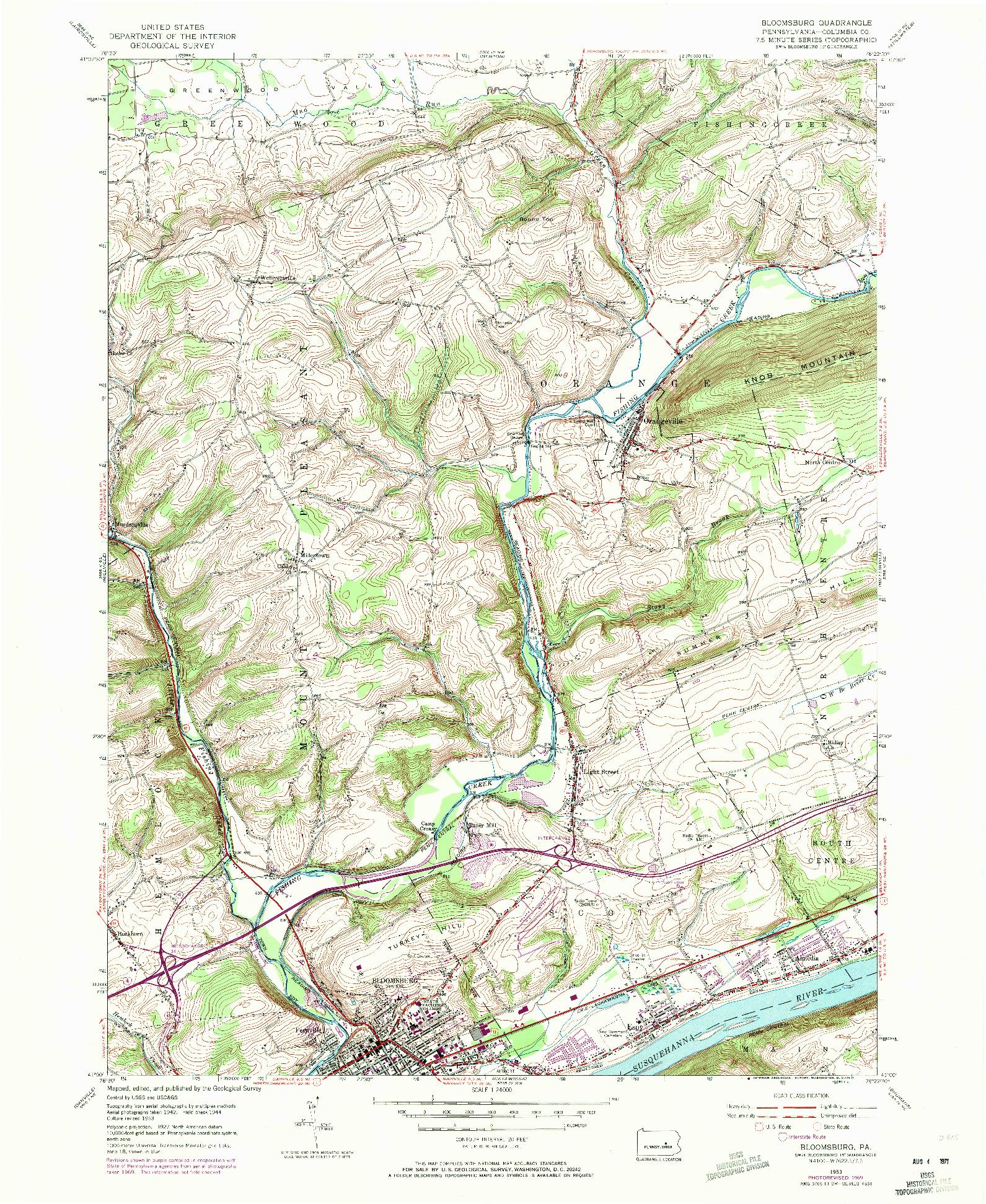 USGS 1:24000-SCALE QUADRANGLE FOR BLOOMSBURG, PA 1953