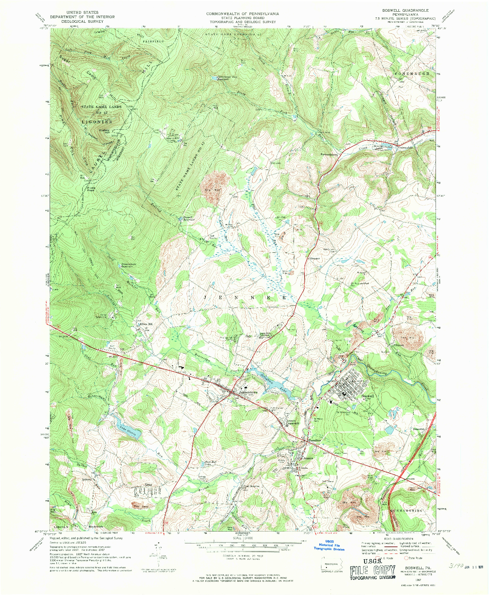 USGS 1:24000-SCALE QUADRANGLE FOR BOSWELL, PA 1967