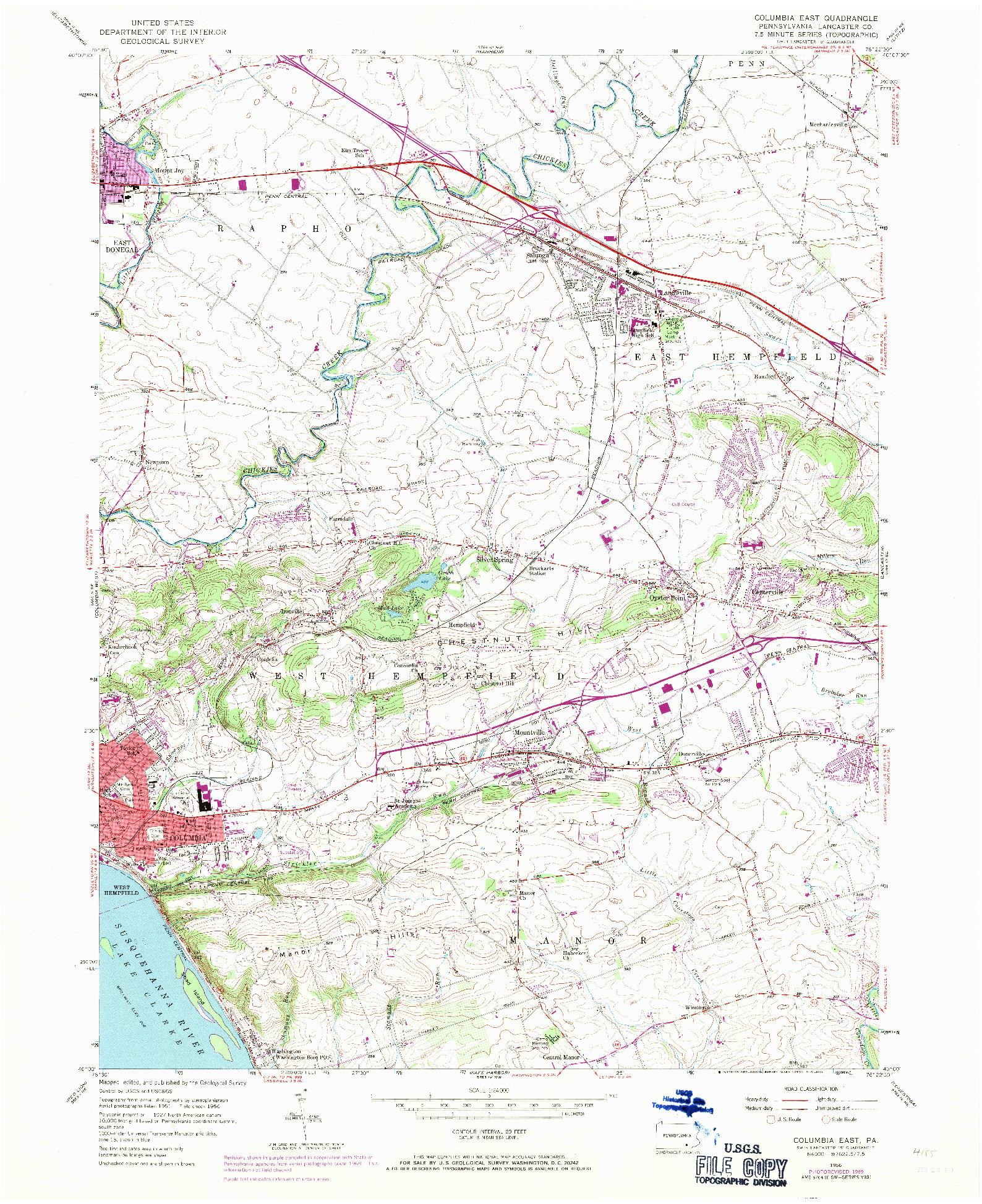 USGS 1:24000-SCALE QUADRANGLE FOR COLUMBIA EAST, PA 1956
