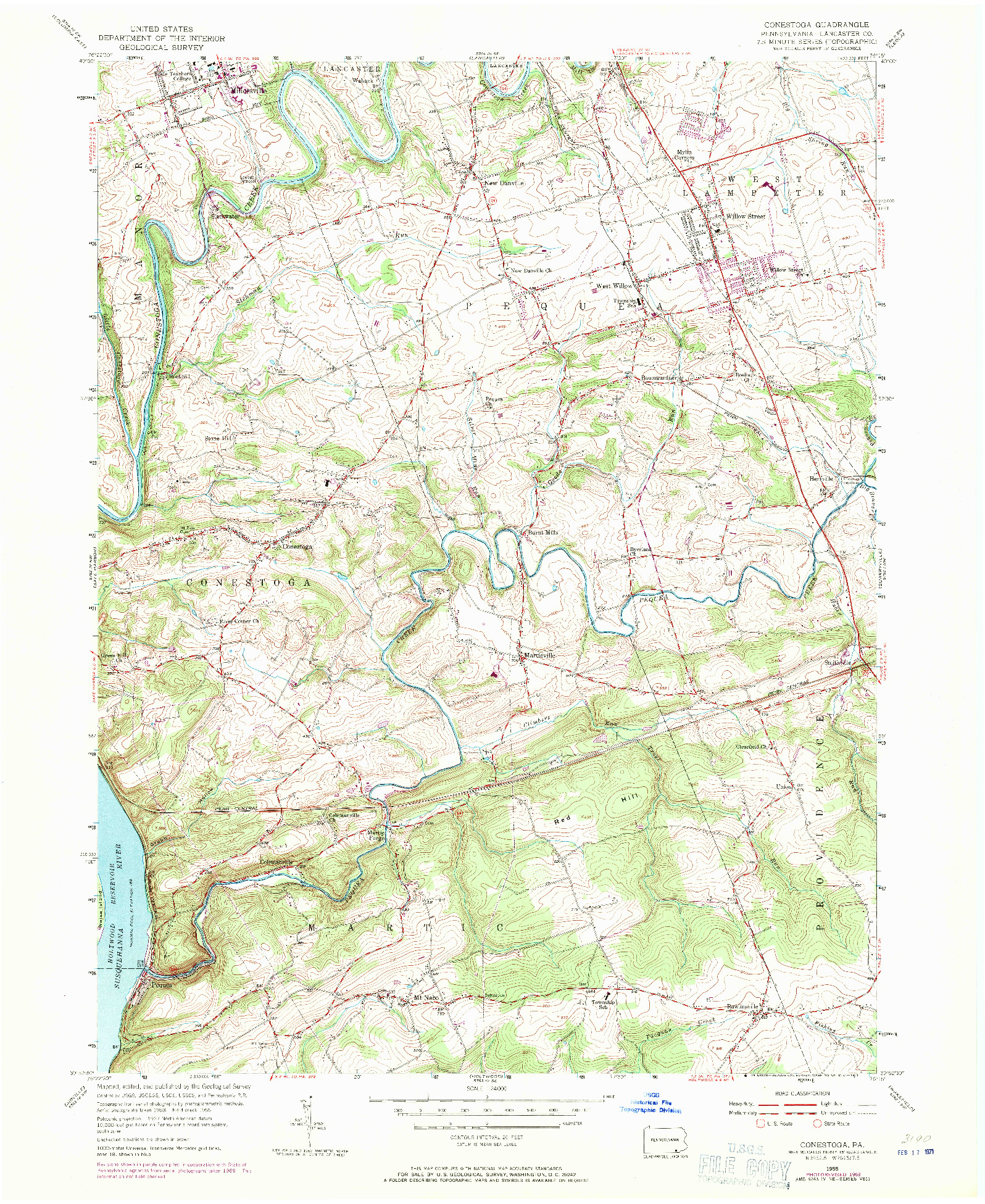 USGS 1:24000-SCALE QUADRANGLE FOR CONESTOGA, PA 1955