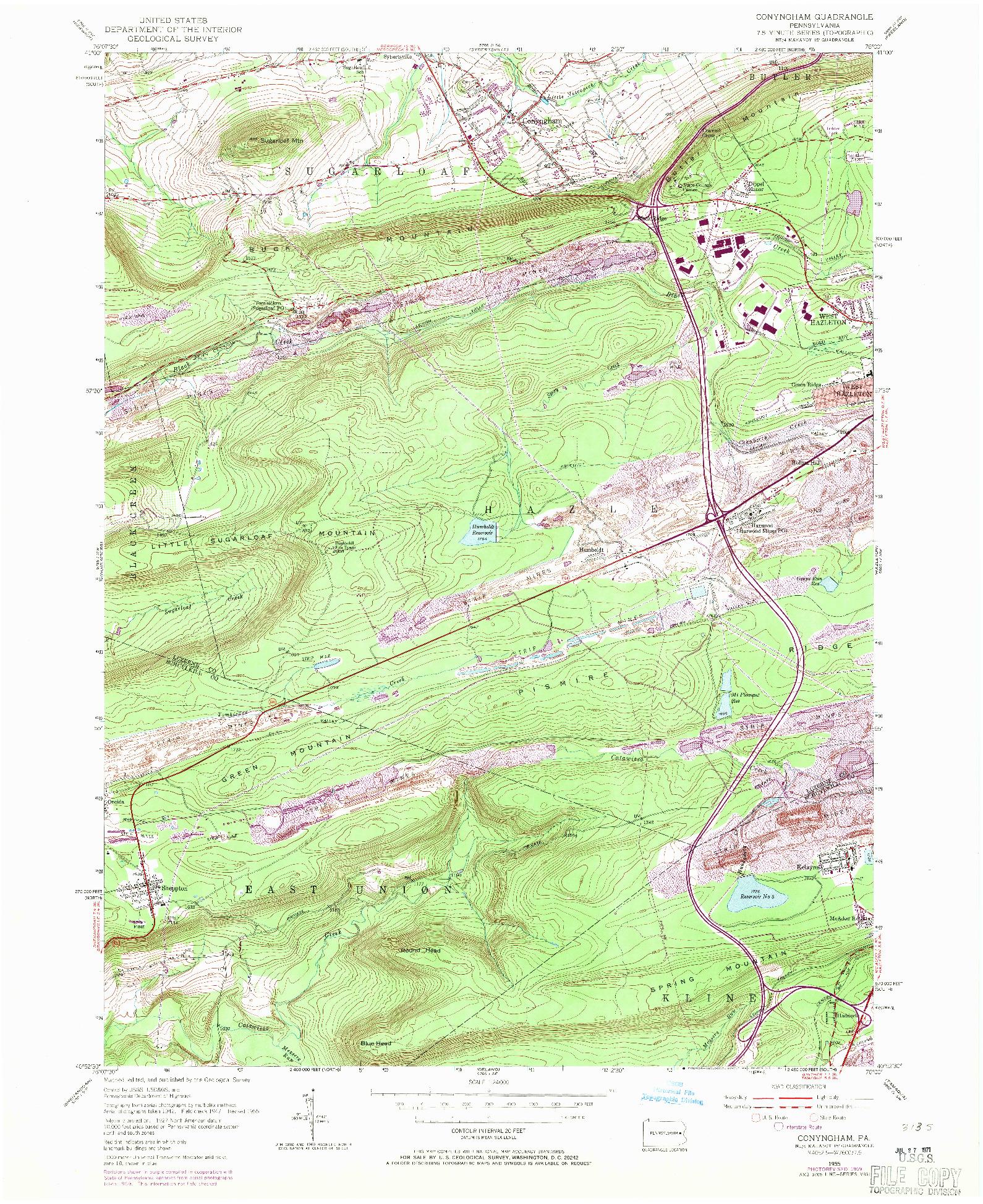 USGS 1:24000-SCALE QUADRANGLE FOR CONYNGHAM, PA 1955