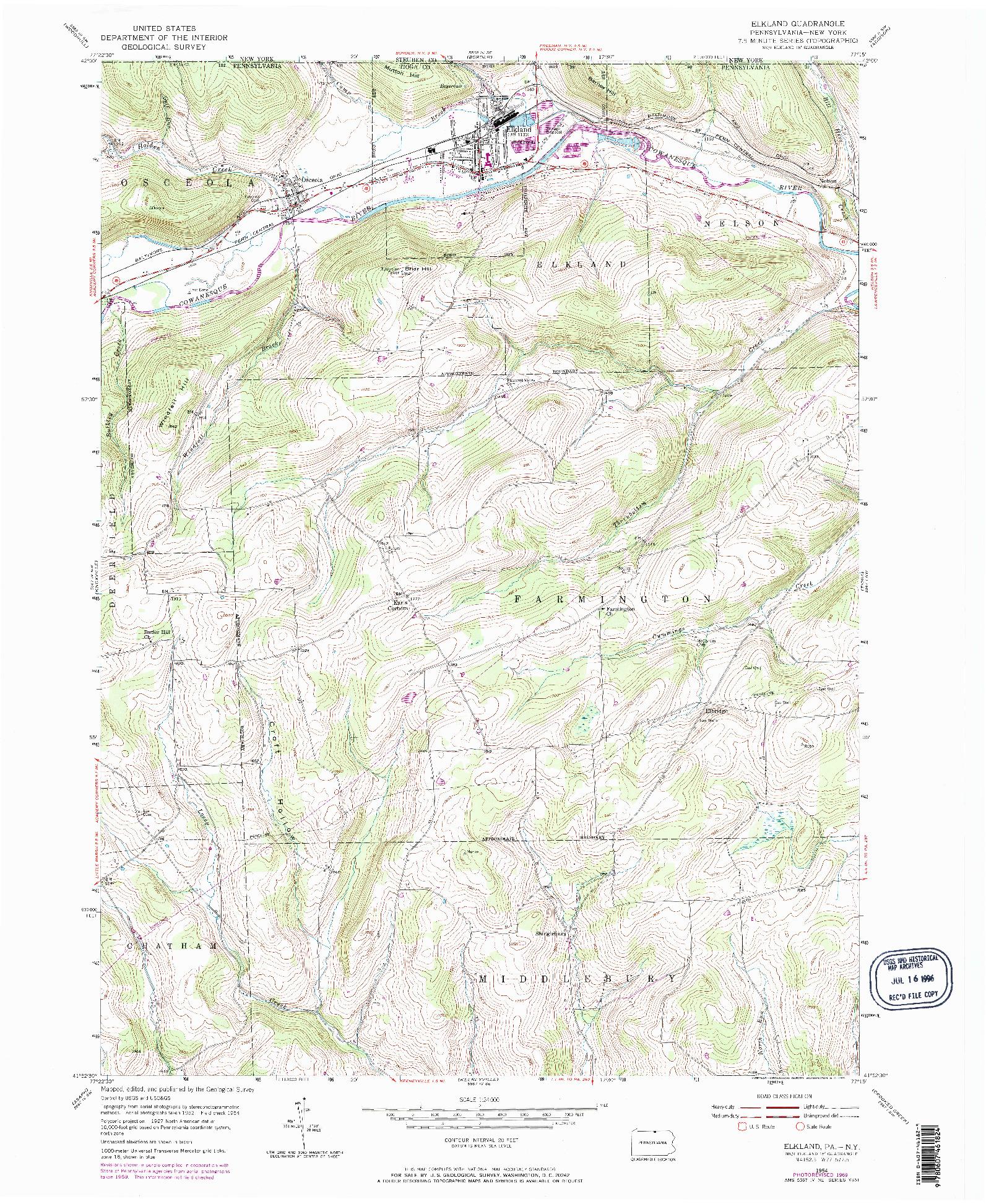 USGS 1:24000-SCALE QUADRANGLE FOR ELKLAND, PA 1954