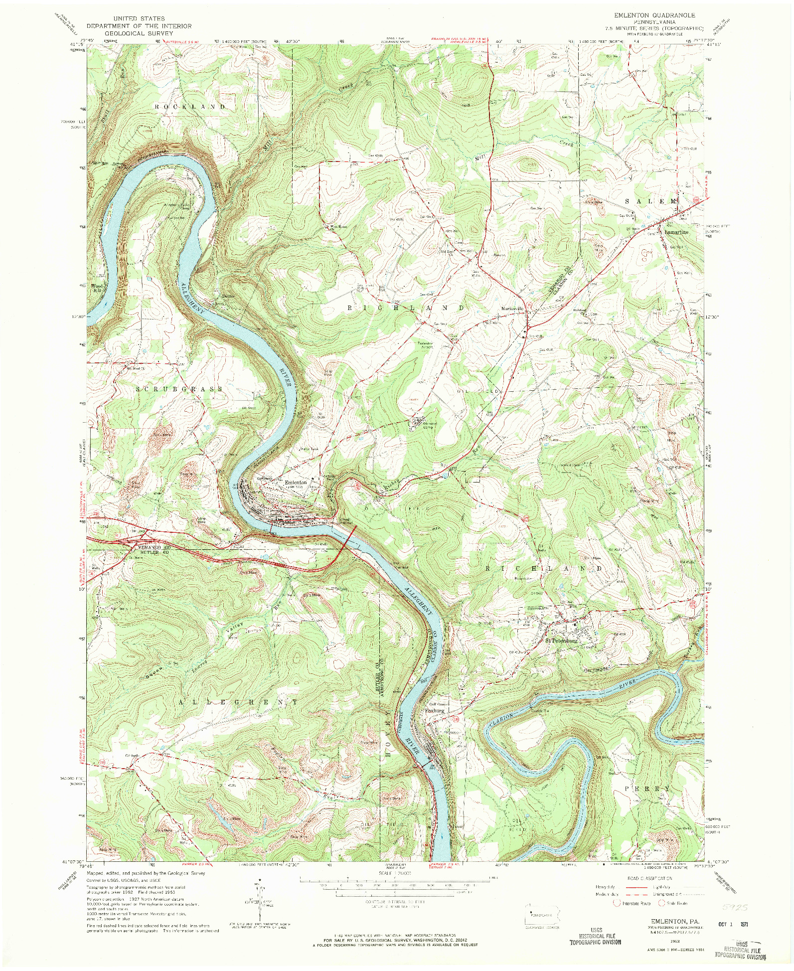 USGS 1:24000-SCALE QUADRANGLE FOR EMLENTON, PA 1963