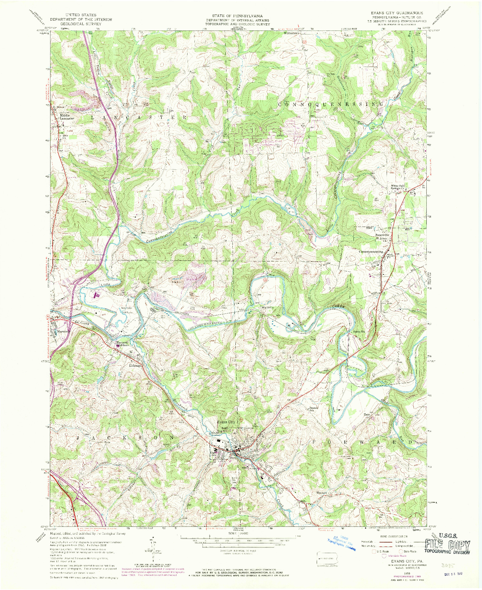 USGS 1:24000-SCALE QUADRANGLE FOR EVANS CITY, PA 1958