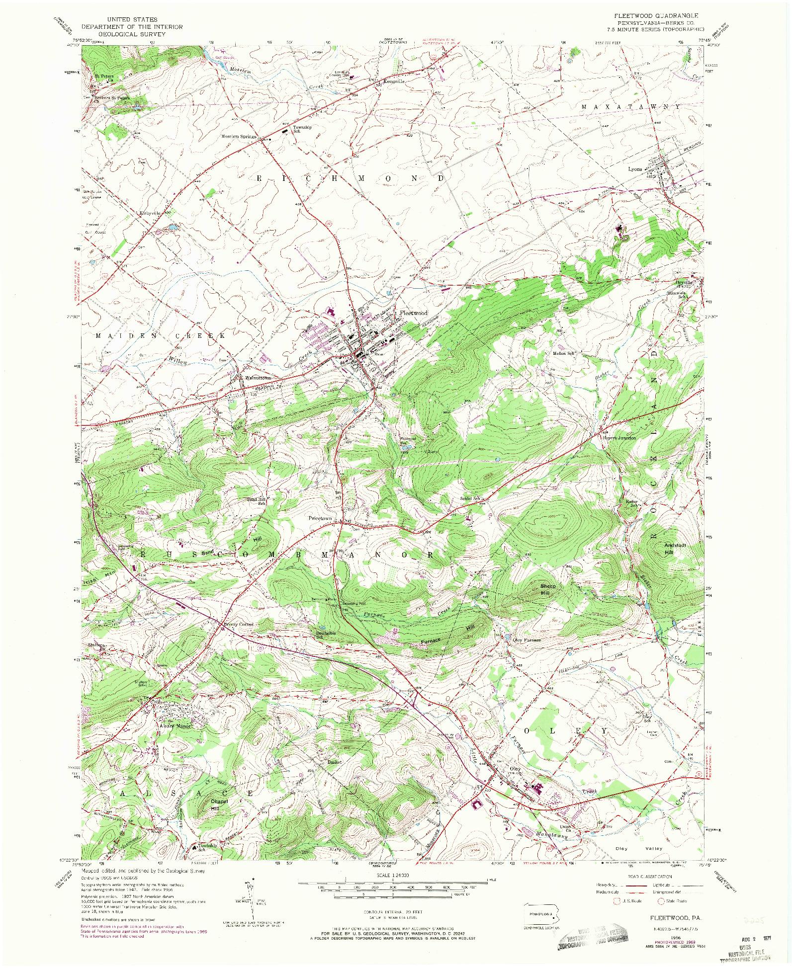 USGS 1:24000-SCALE QUADRANGLE FOR FLEETWOOD, PA 1956