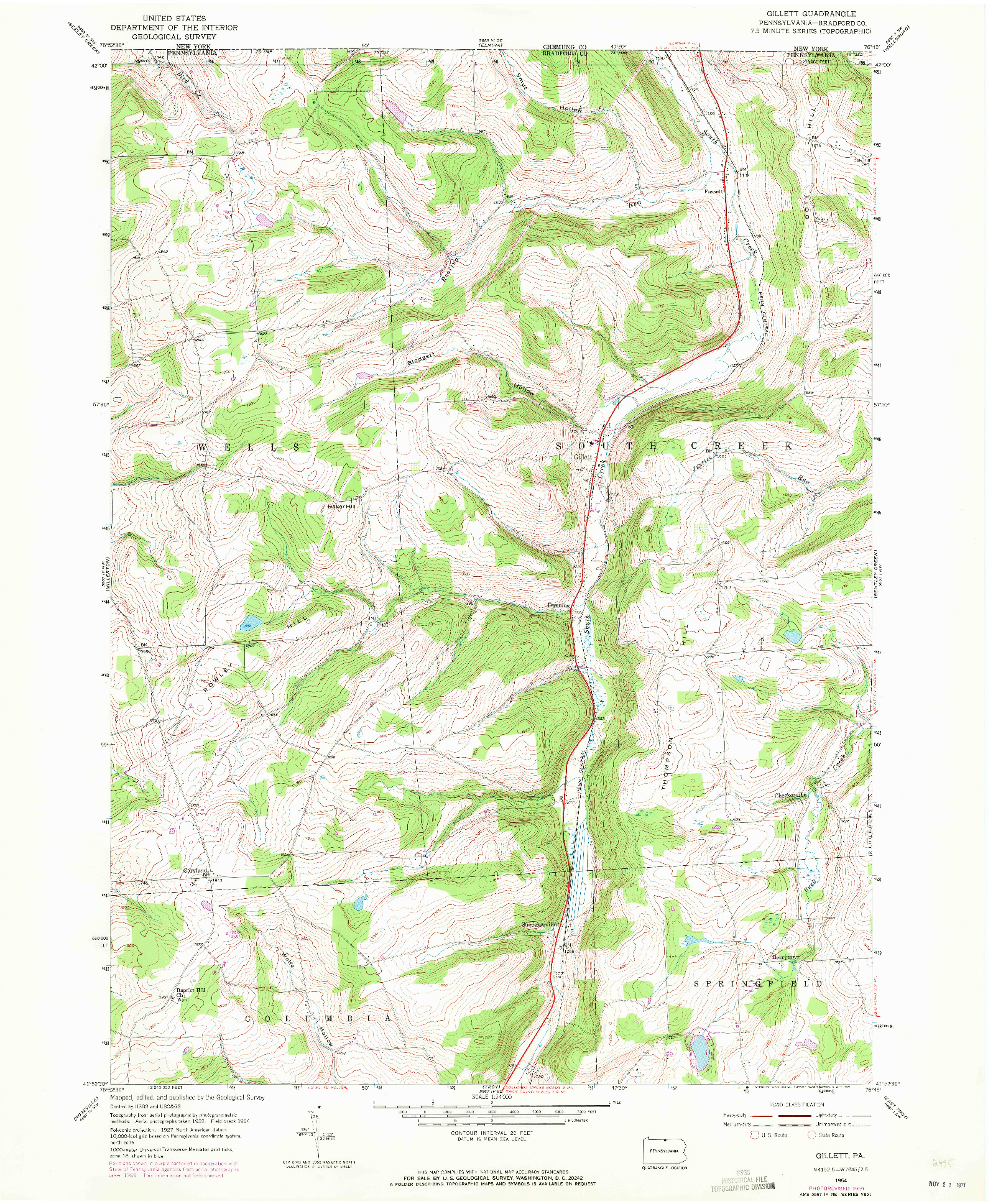 USGS 1:24000-SCALE QUADRANGLE FOR GILLETT, PA 1954
