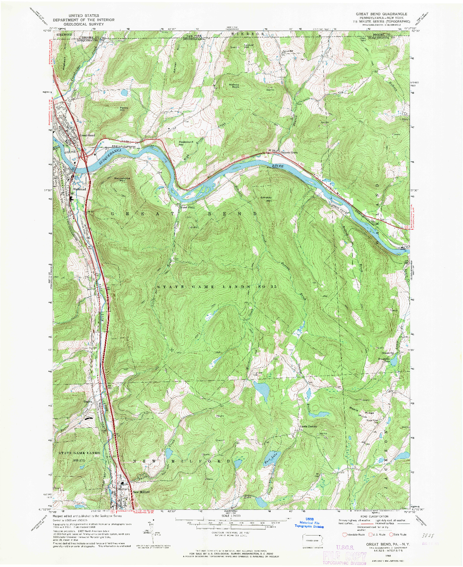 USGS 1:24000-SCALE QUADRANGLE FOR GREAT BEND, PA 1968