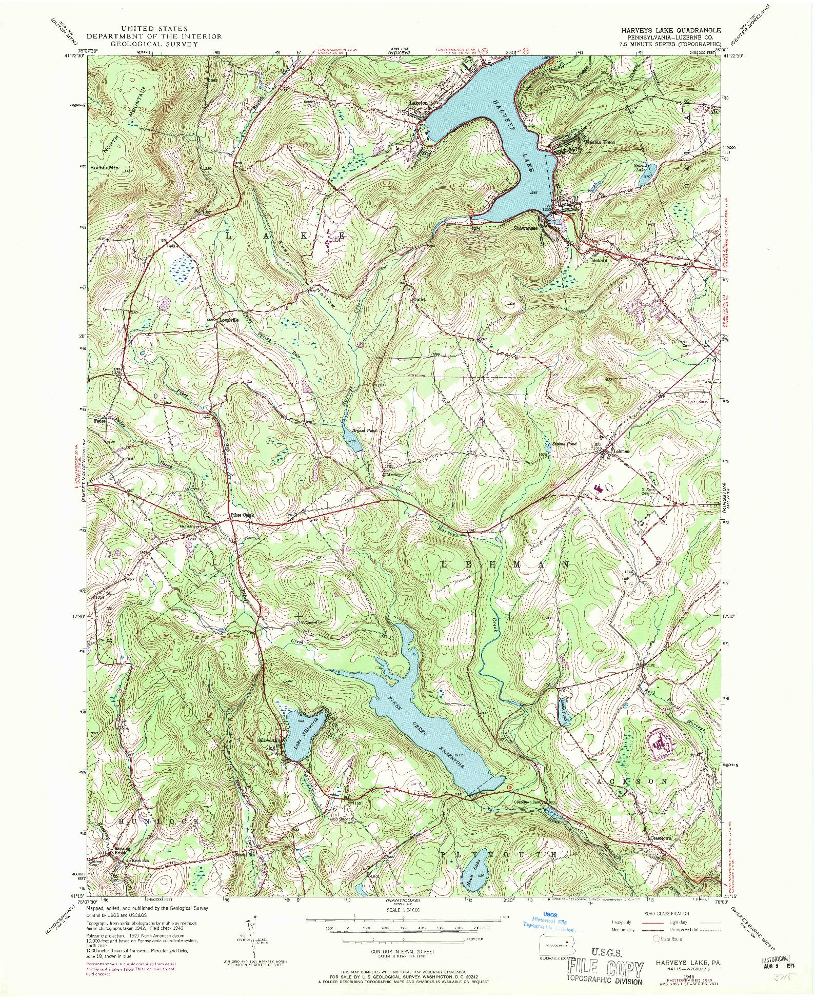 USGS 1:24000-SCALE QUADRANGLE FOR HARVEYS LAKE, PA 1946