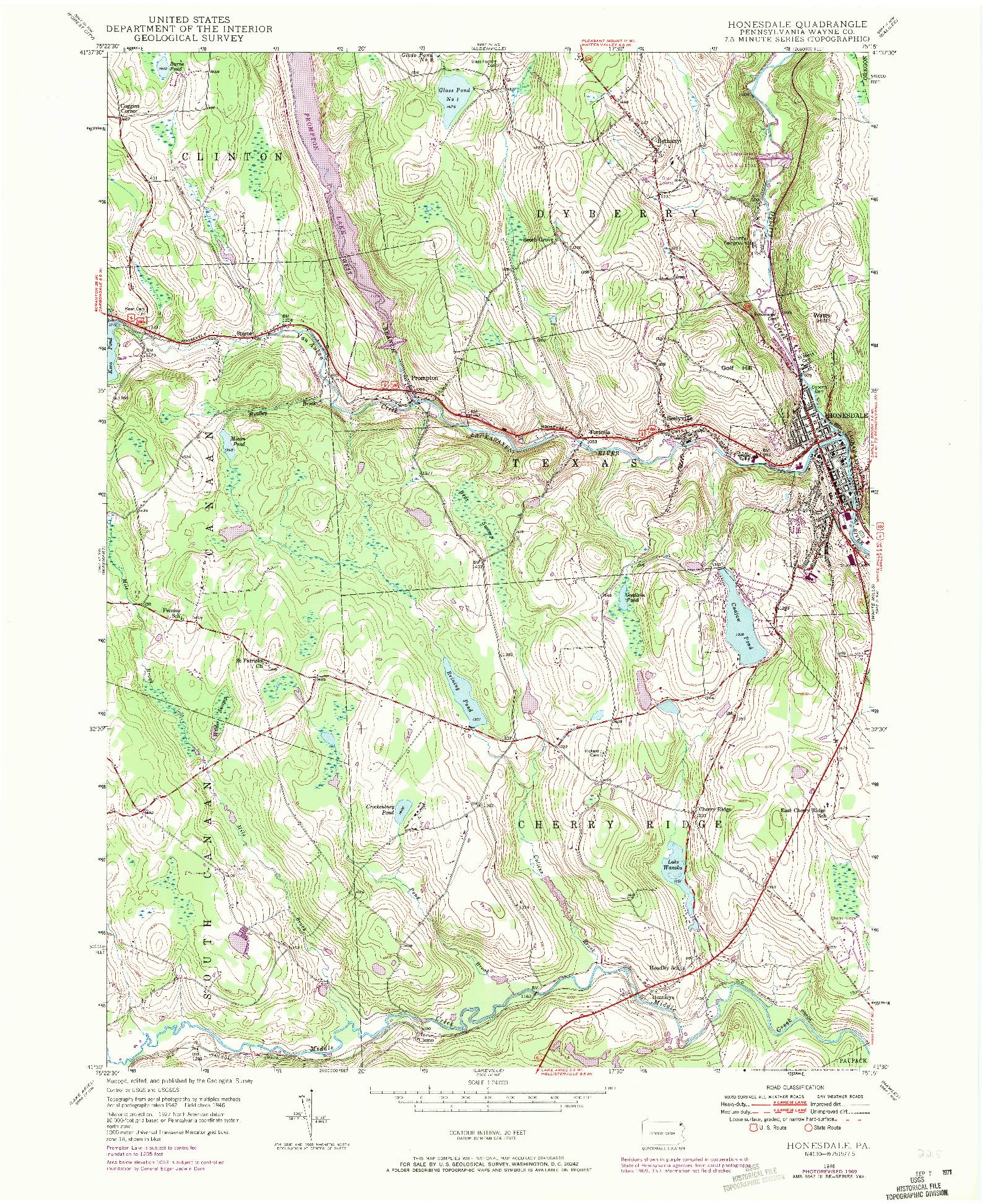 USGS 1:24000-SCALE QUADRANGLE FOR HONESDALE, PA 1946