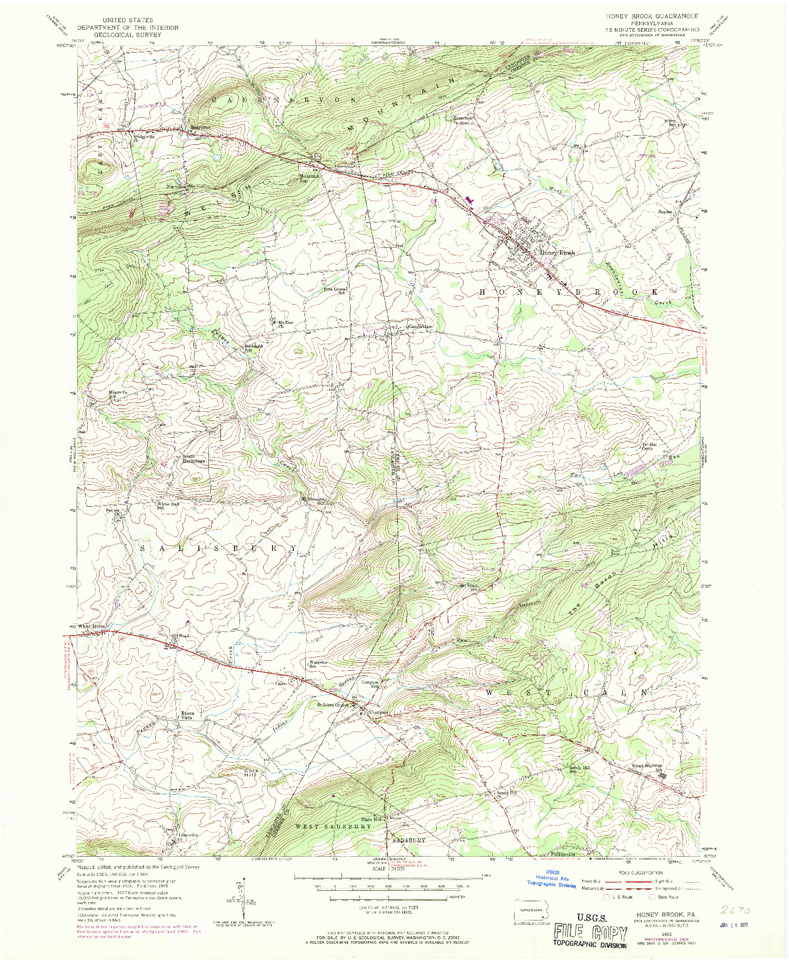 USGS 1:24000-SCALE QUADRANGLE FOR HONEY BROOK, PA 1955