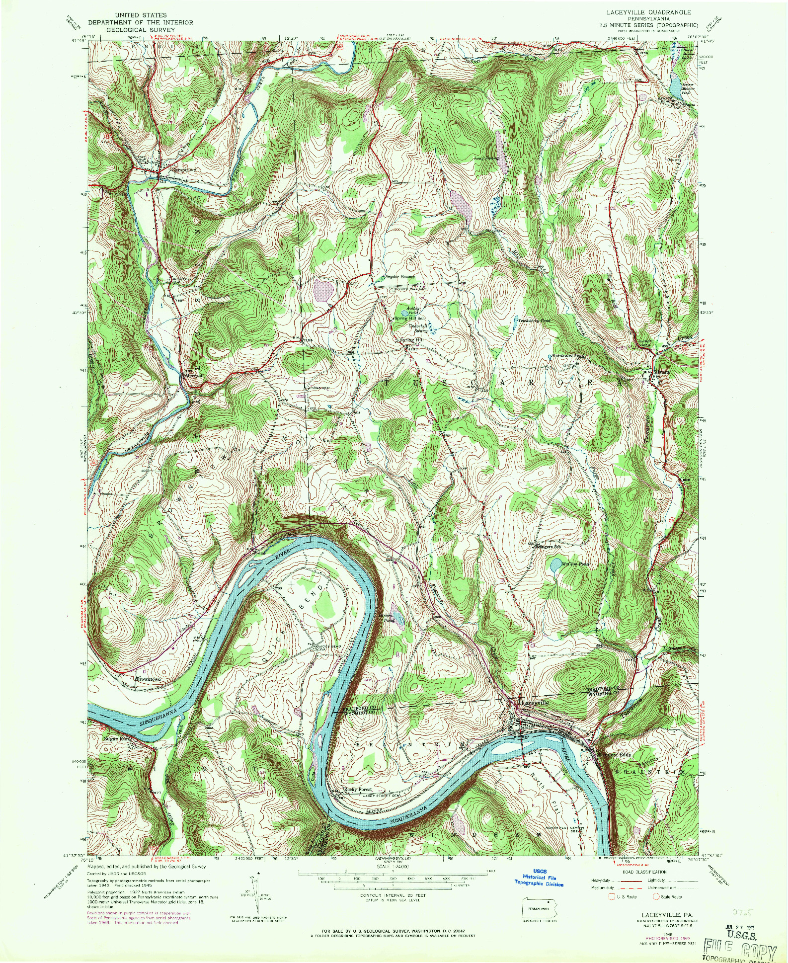 USGS 1:24000-SCALE QUADRANGLE FOR LACEYVILLE, PA 1945