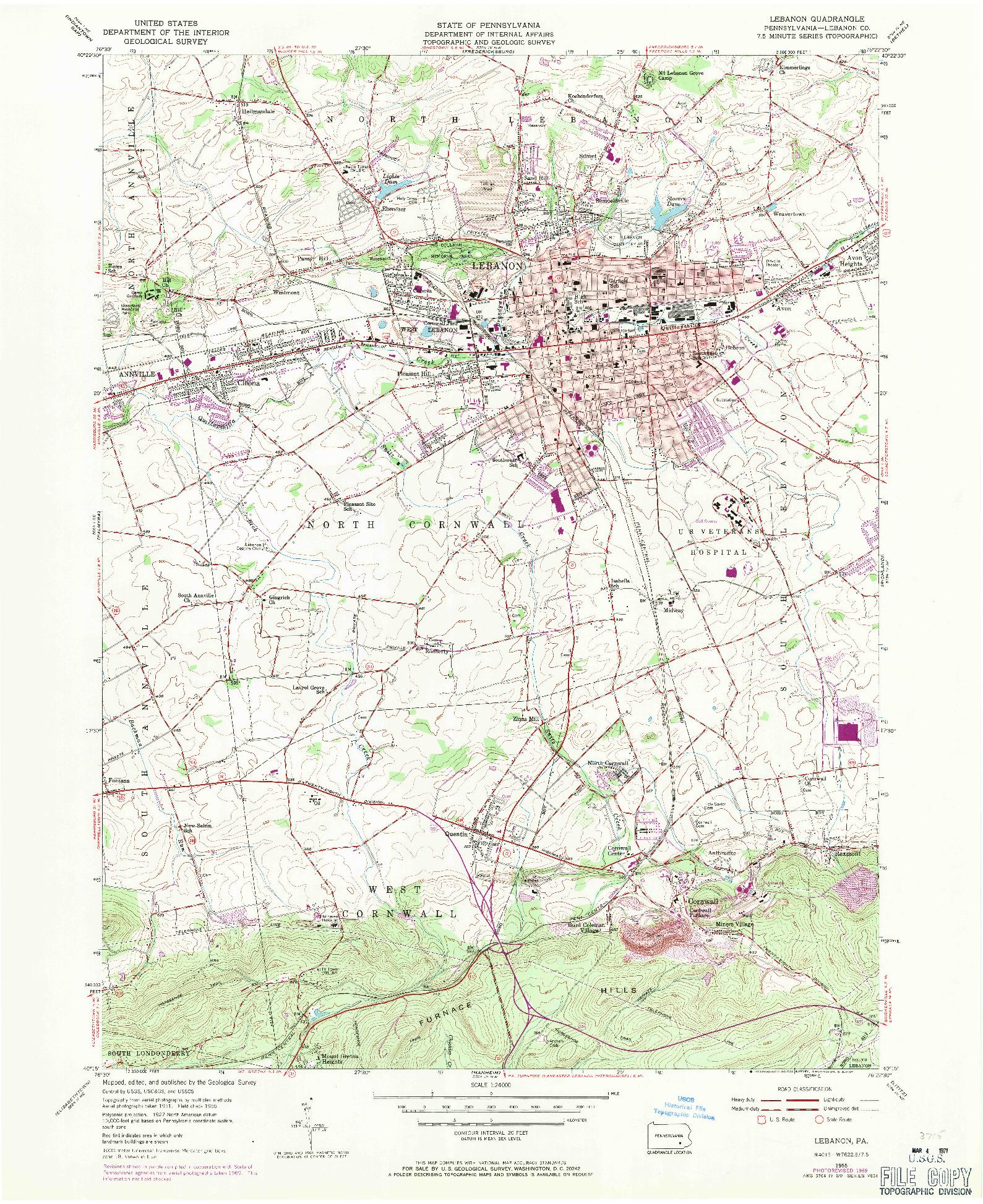USGS 1:24000-SCALE QUADRANGLE FOR LEBANON, PA 1955