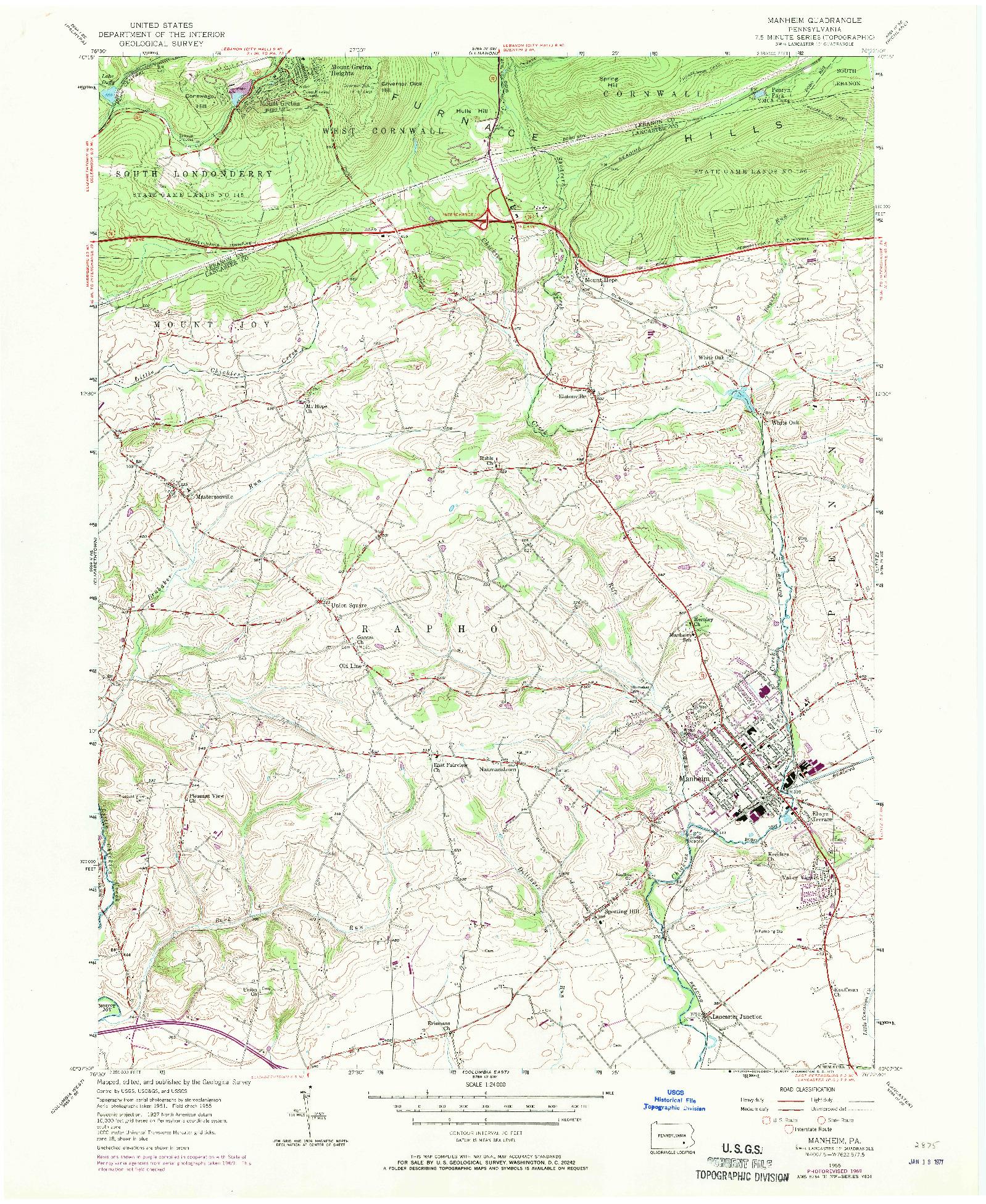 USGS 1:24000-SCALE QUADRANGLE FOR MANHEIM, PA 1955