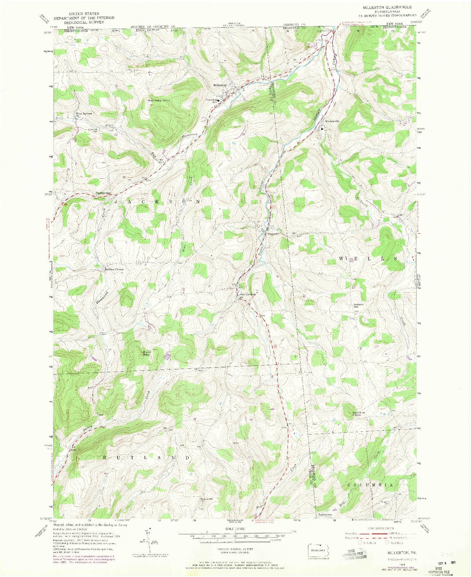 USGS 1:24000-SCALE QUADRANGLE FOR MILLERTON, PA 1954