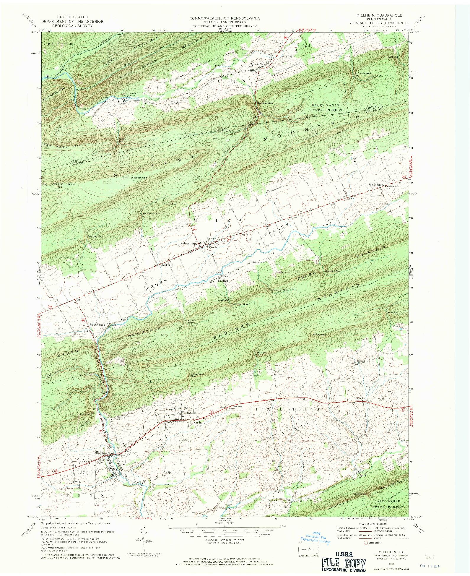 USGS 1:24000-SCALE QUADRANGLE FOR MILLHEIM, PA 1968