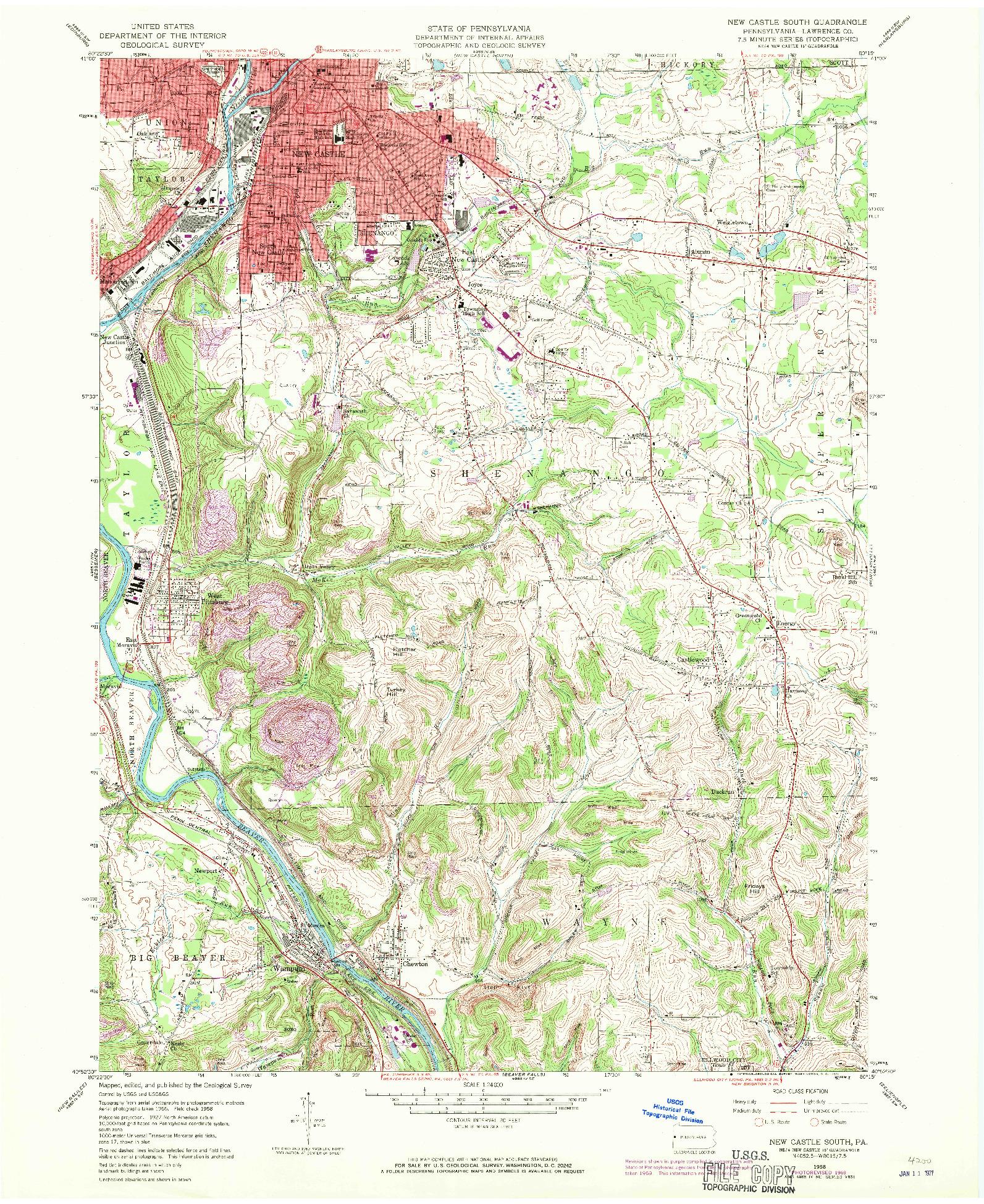 USGS 1:24000-SCALE QUADRANGLE FOR NEW CASTLE SOUTH, PA 1958