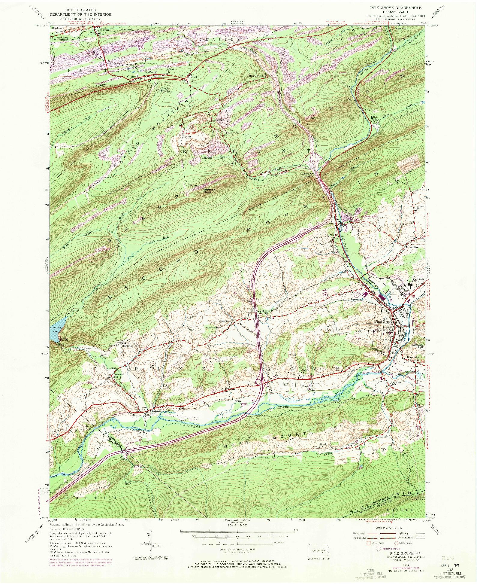 USGS 1:24000-SCALE QUADRANGLE FOR PINE GROVE, PA 1954