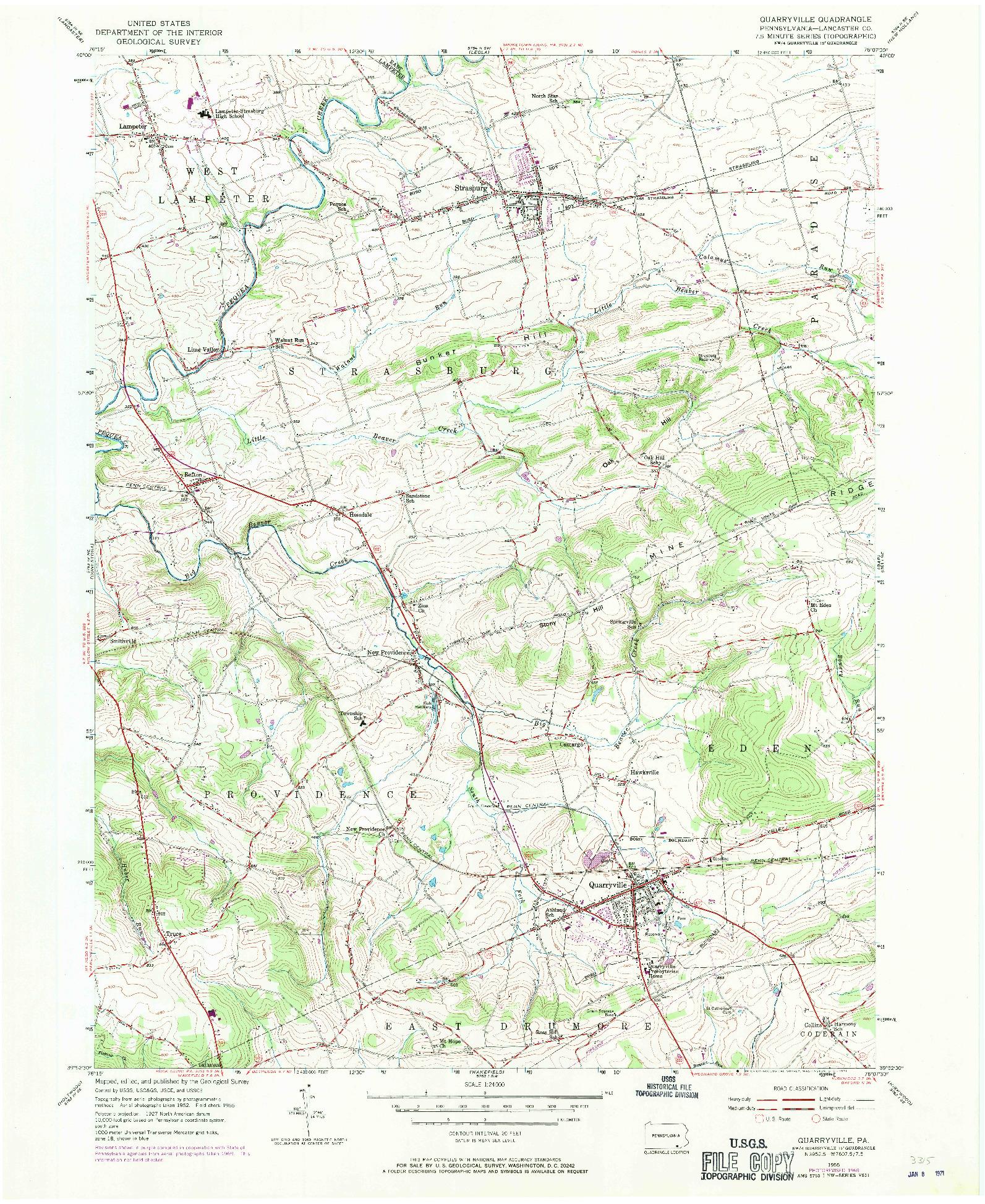 USGS 1:24000-SCALE QUADRANGLE FOR QUARRYVILLE, PA 1955