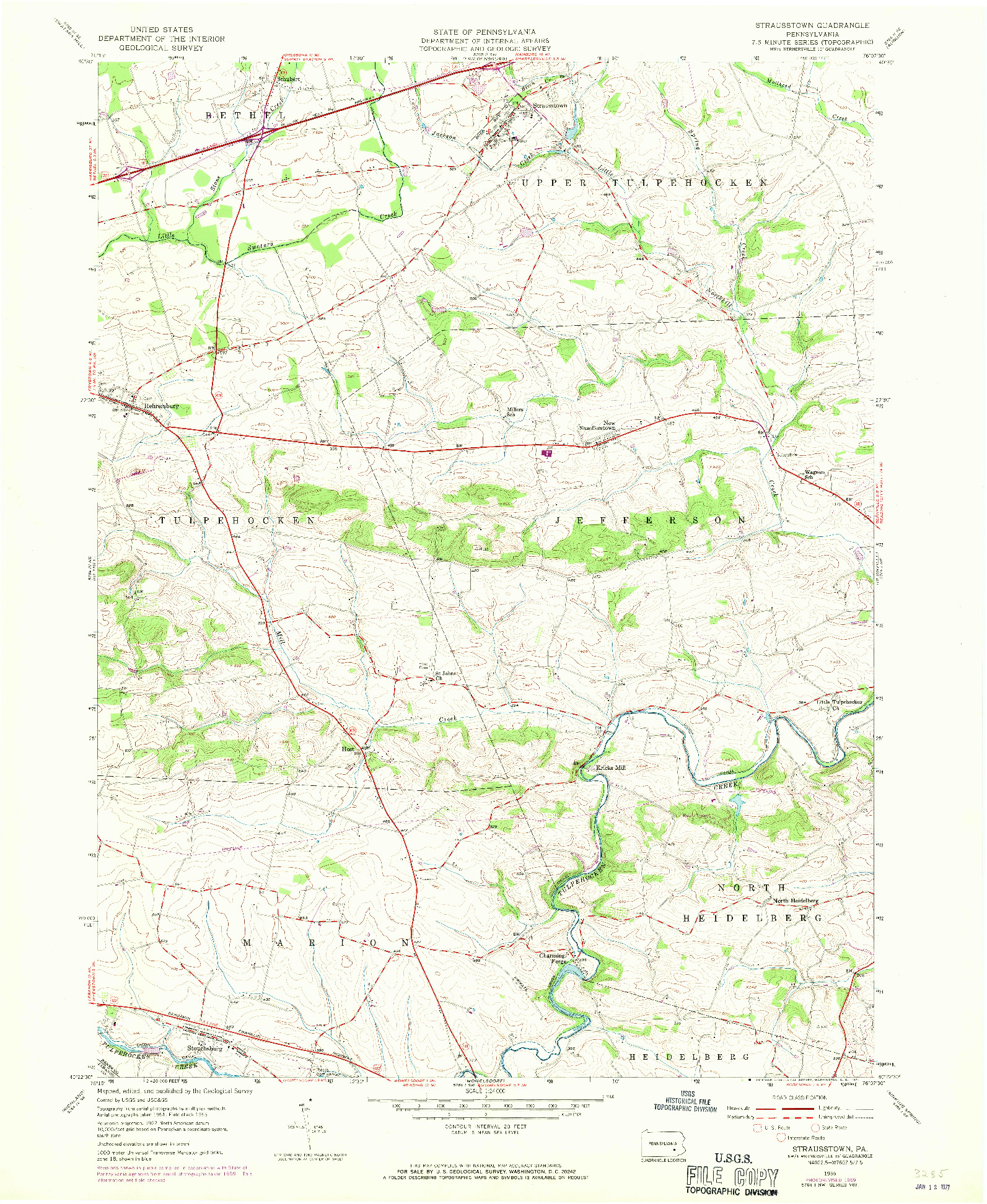 USGS 1:24000-SCALE QUADRANGLE FOR STRAUSSTOWN, PA 1955