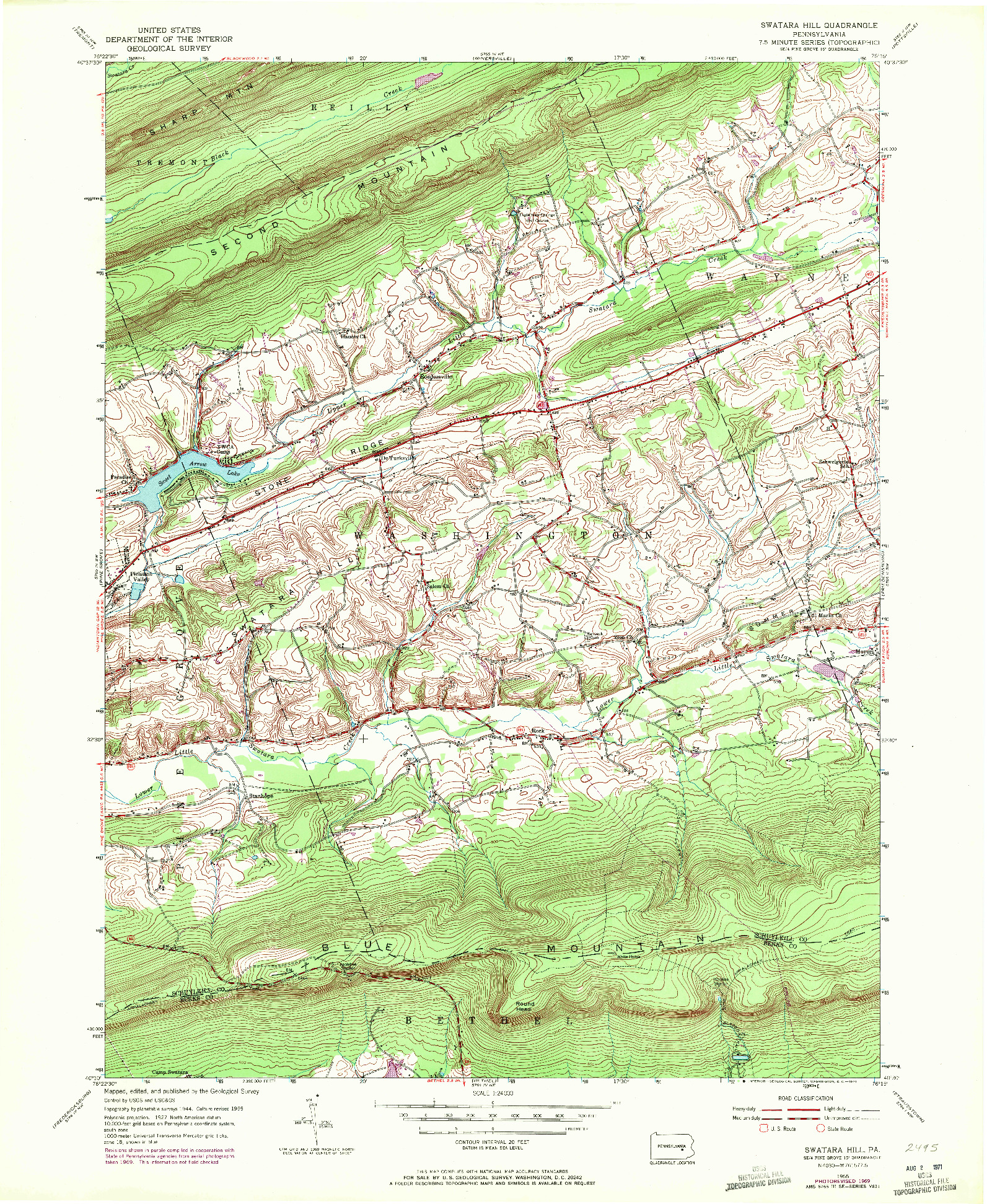 USGS 1:24000-SCALE QUADRANGLE FOR SWATARA HILL, PA 1955
