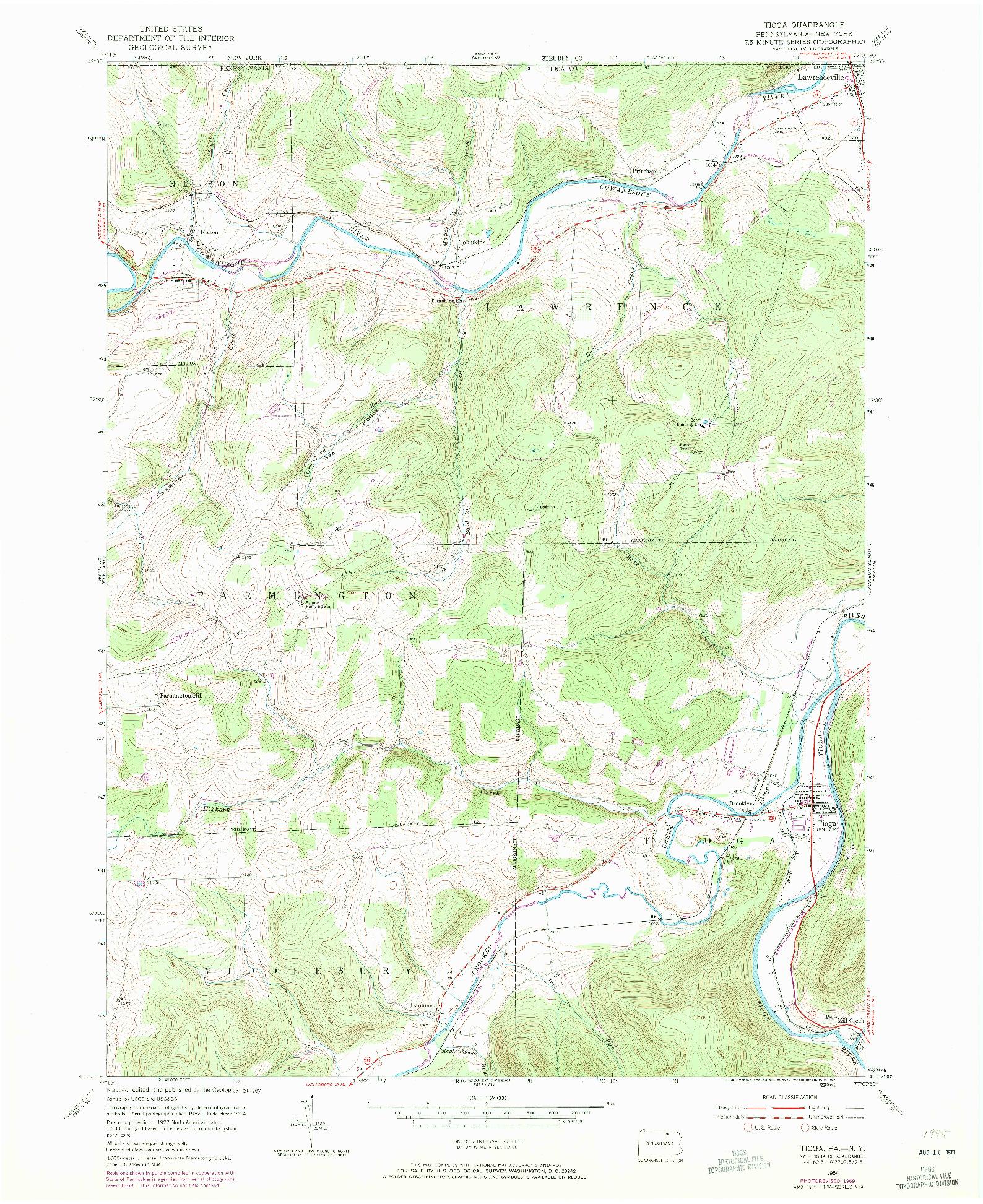 USGS 1:24000-SCALE QUADRANGLE FOR TIOGA, PA 1969