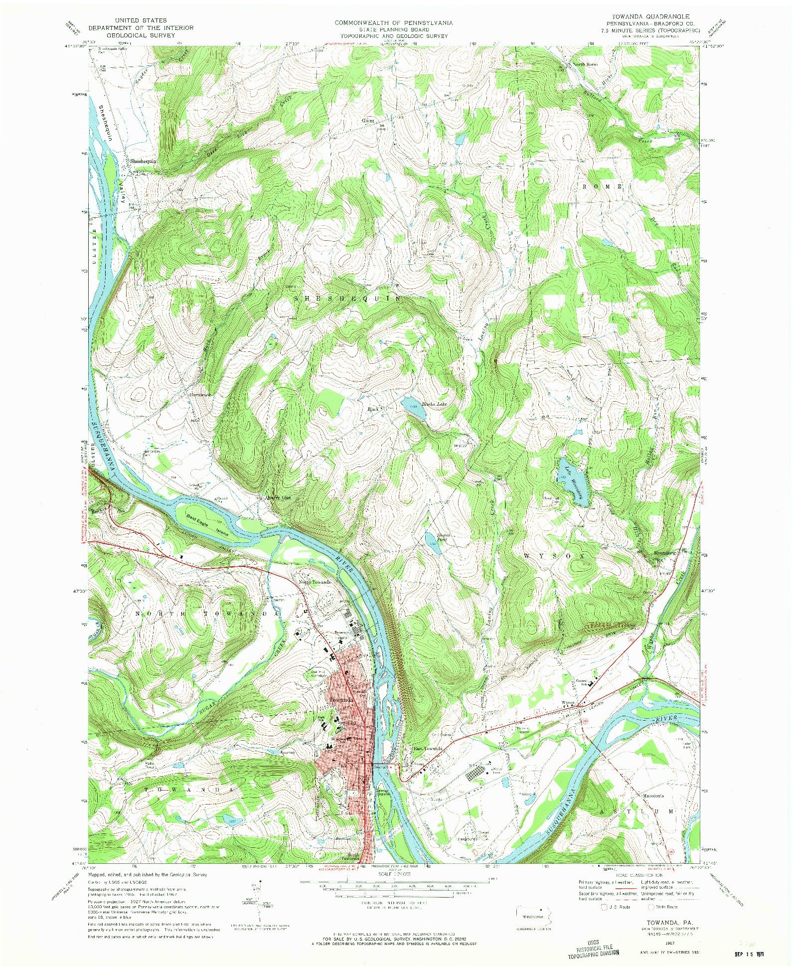 USGS 1:24000-SCALE QUADRANGLE FOR TOWANDA, PA 1967