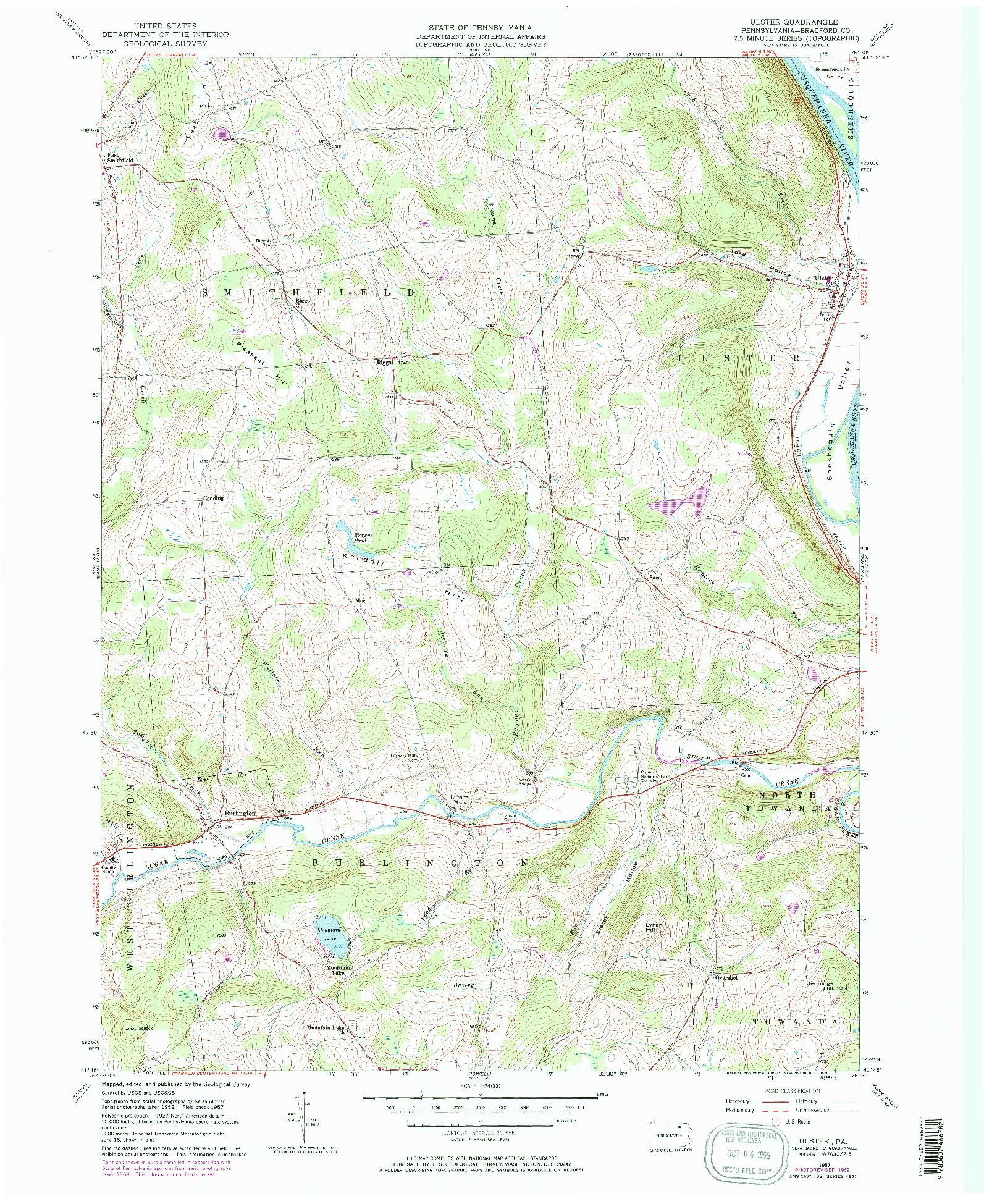 USGS 1:24000-SCALE QUADRANGLE FOR ULSTER, PA 1957