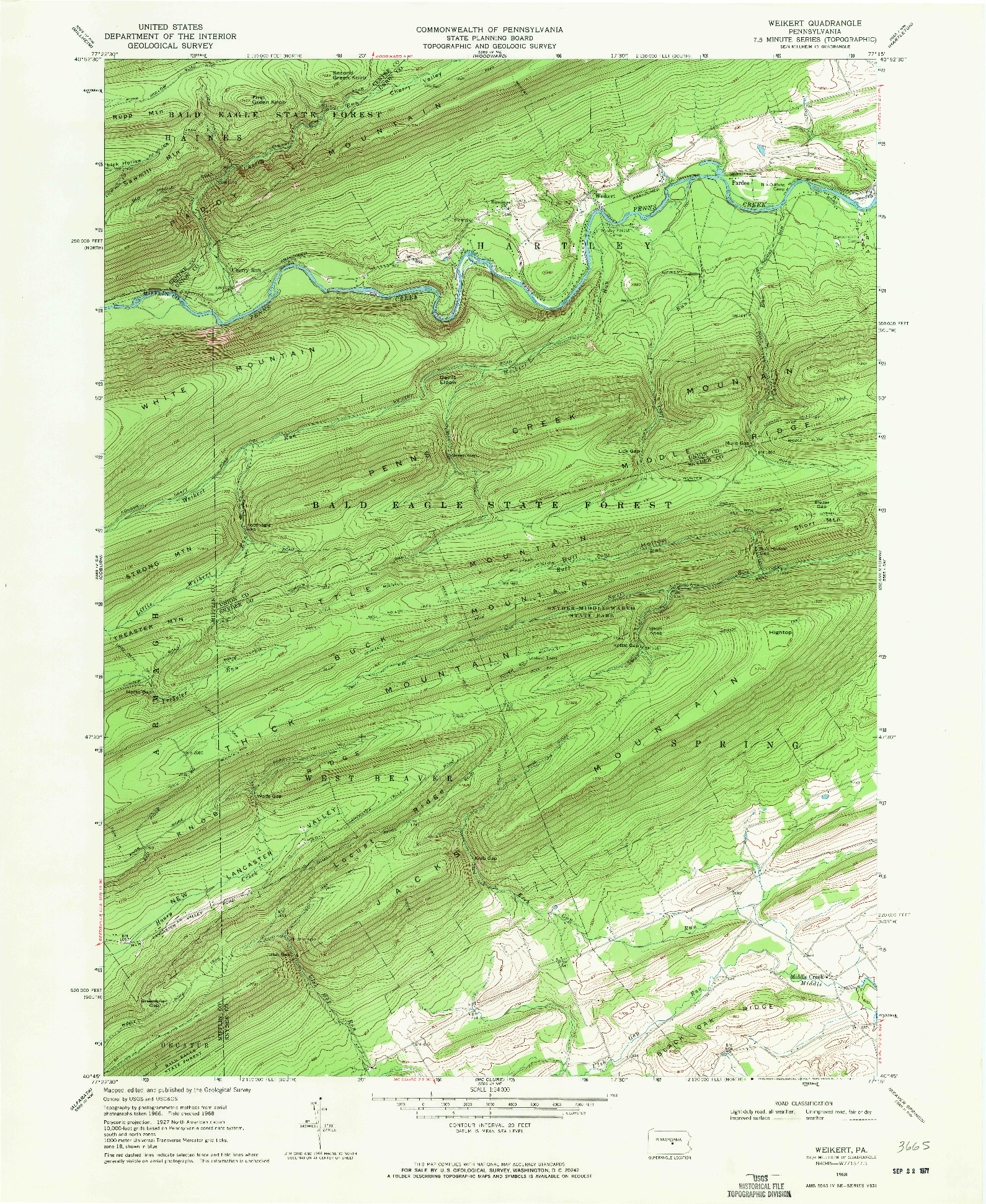 USGS 1:24000-SCALE QUADRANGLE FOR WEIKERT, PA 1968