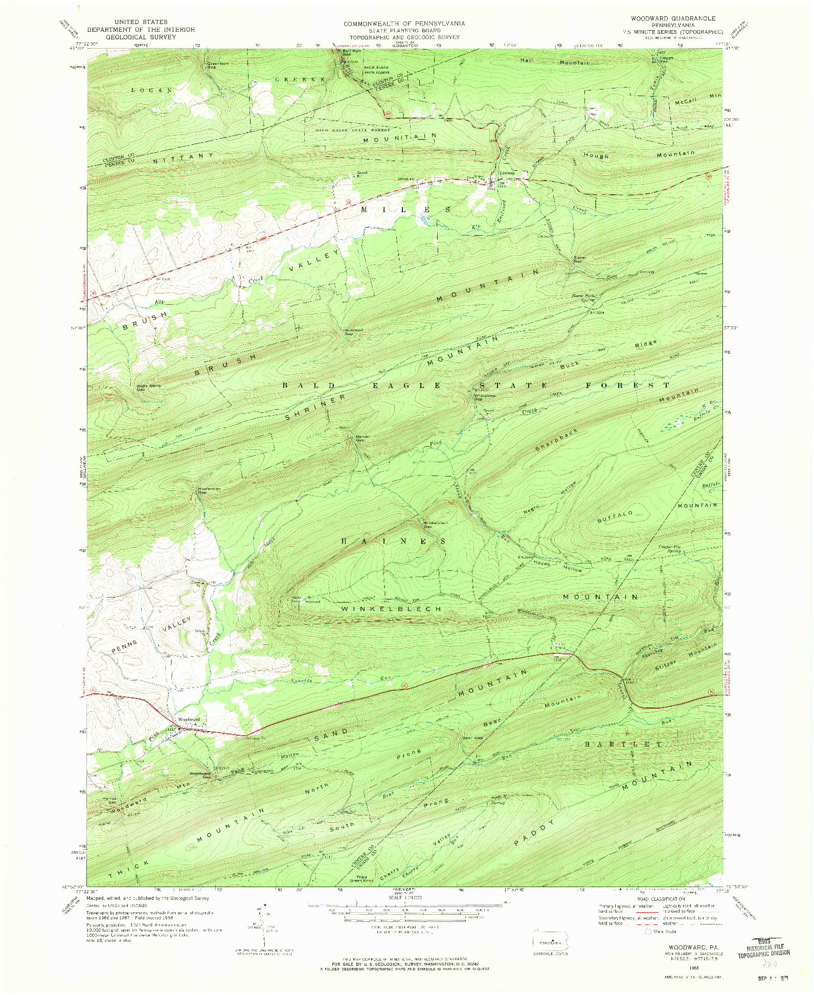 USGS 1:24000-SCALE QUADRANGLE FOR WOODWARD, PA 1968