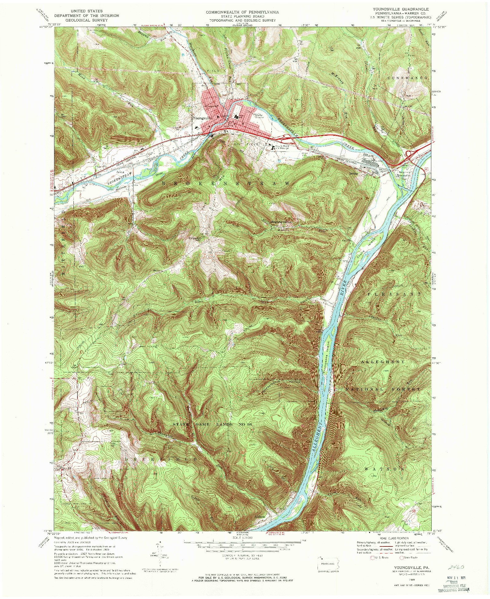 USGS 1:24000-SCALE QUADRANGLE FOR YOUNGSVILLE, PA 1969