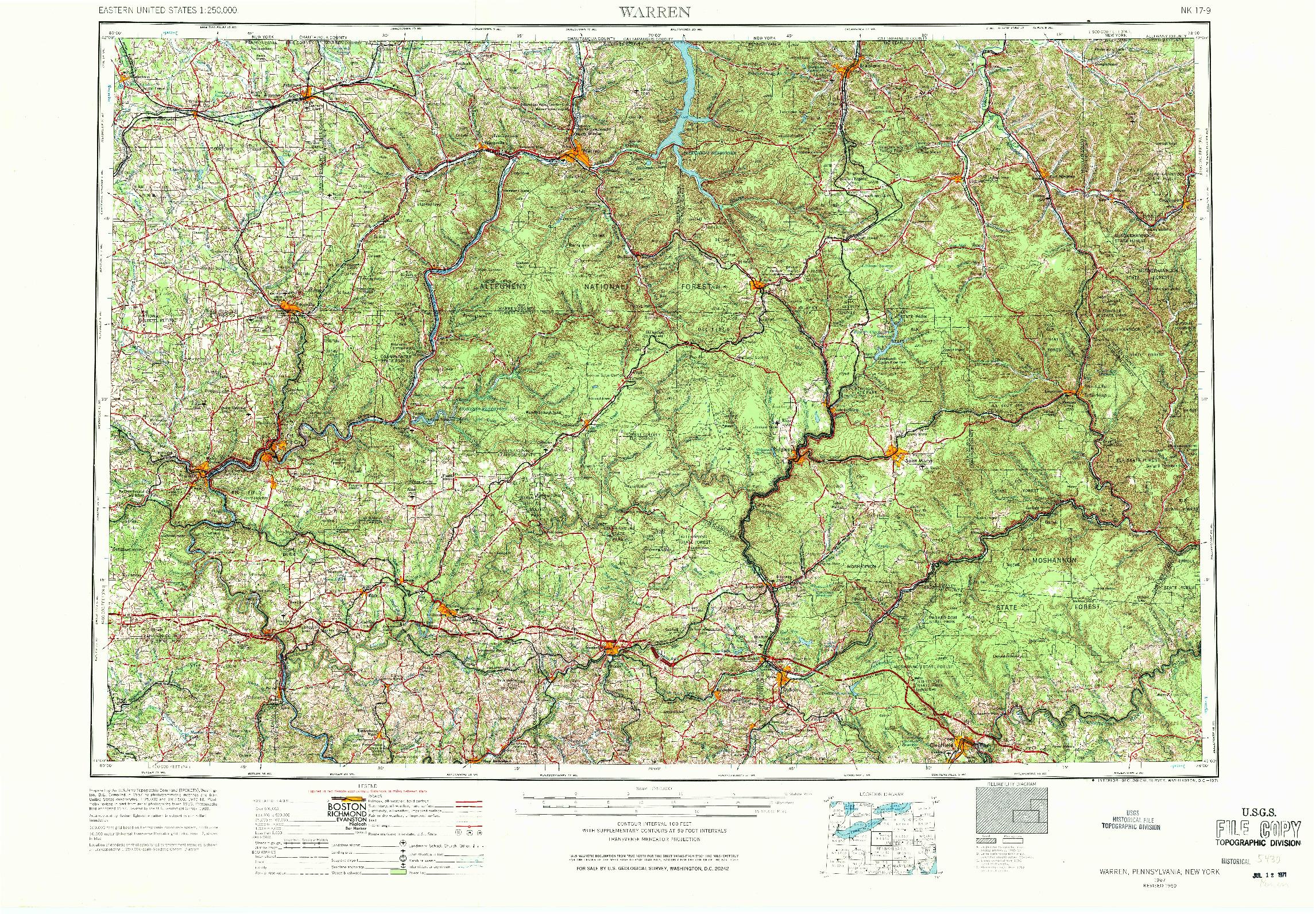 USGS 1:250000-SCALE QUADRANGLE FOR WARREN, PA 1957