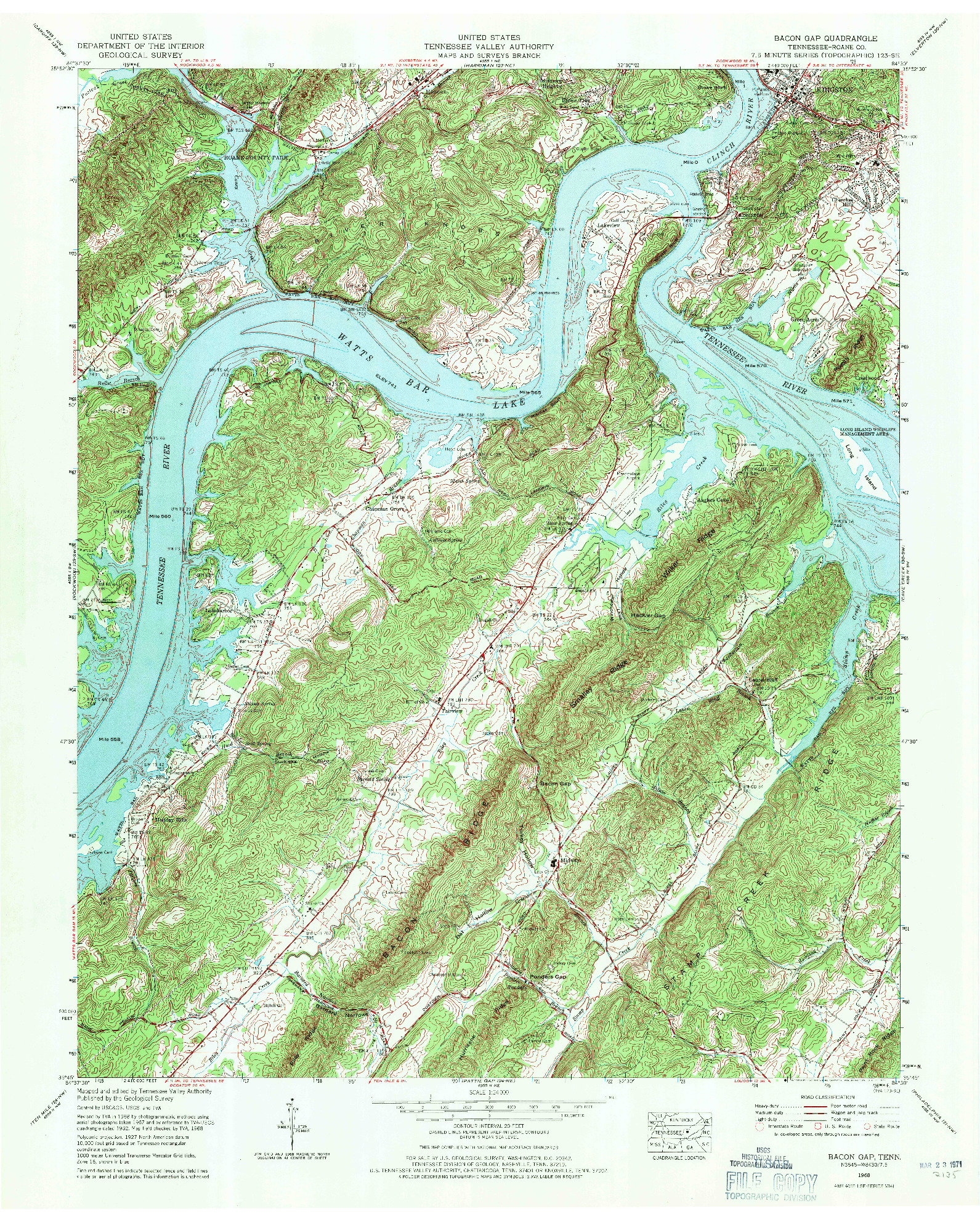 USGS 1:24000-SCALE QUADRANGLE FOR BACON GAP, TN 1968