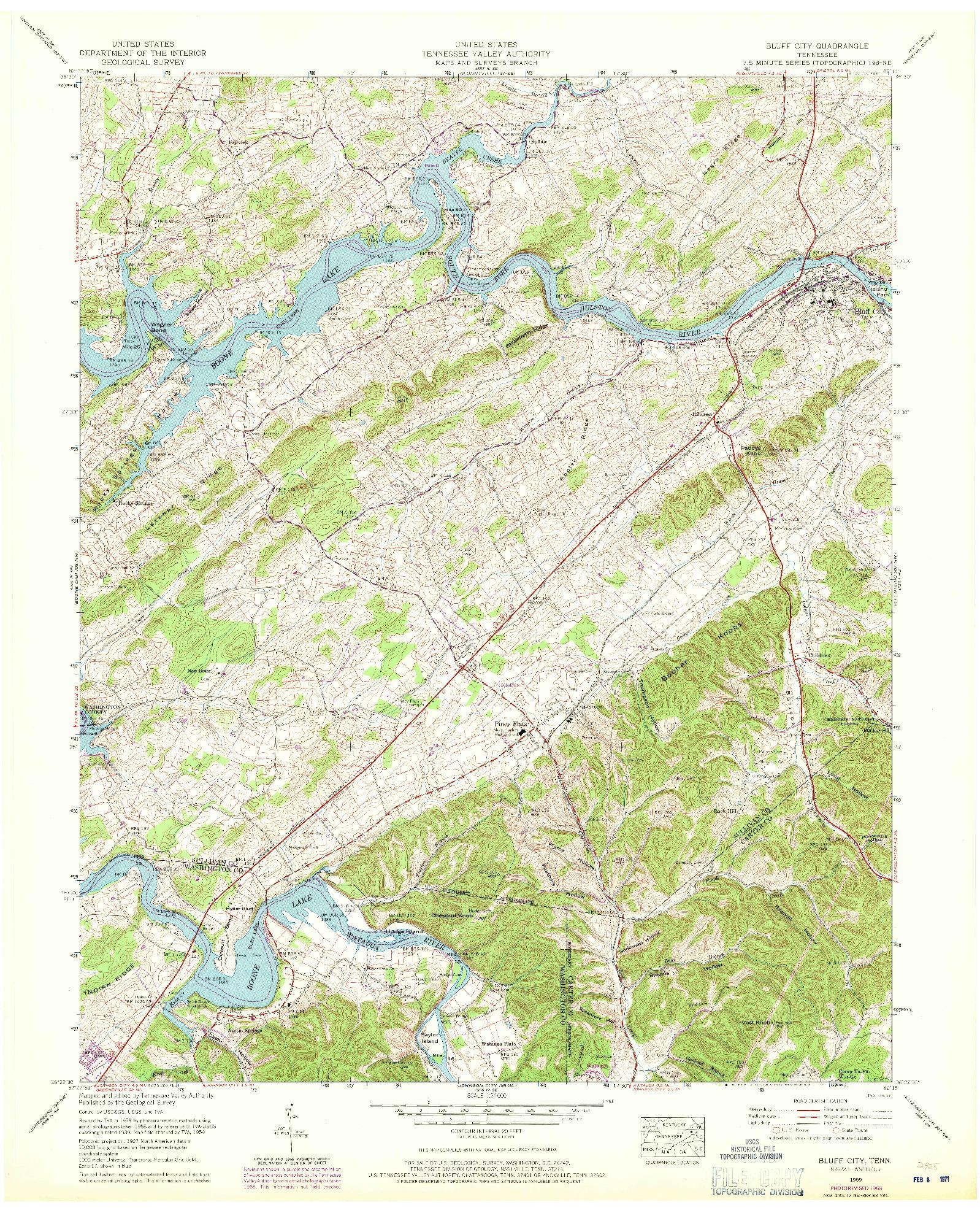 USGS 1:24000-SCALE QUADRANGLE FOR BLUFF CITY, TN 1959