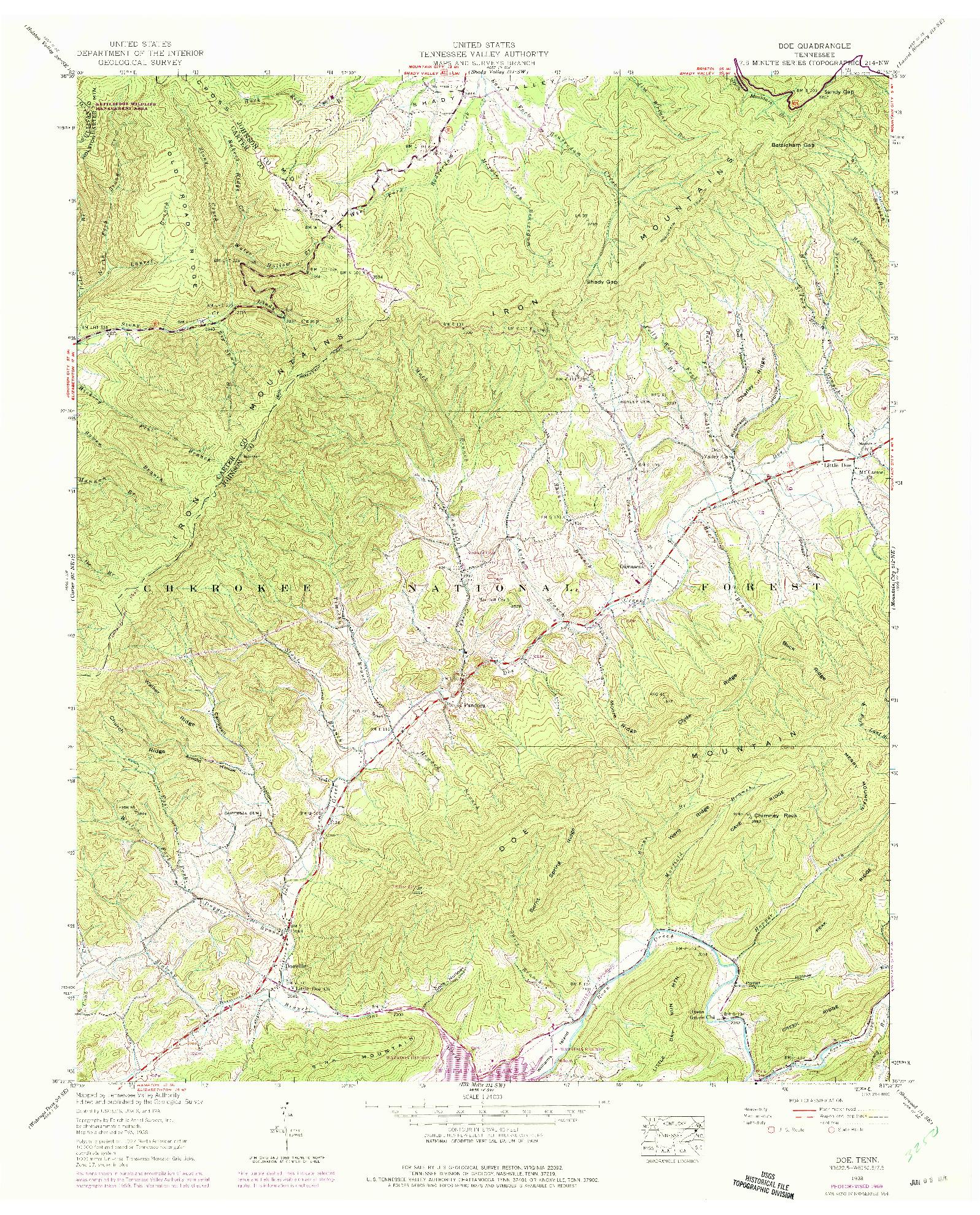 USGS 1:24000-SCALE QUADRANGLE FOR DOE, TN 1938
