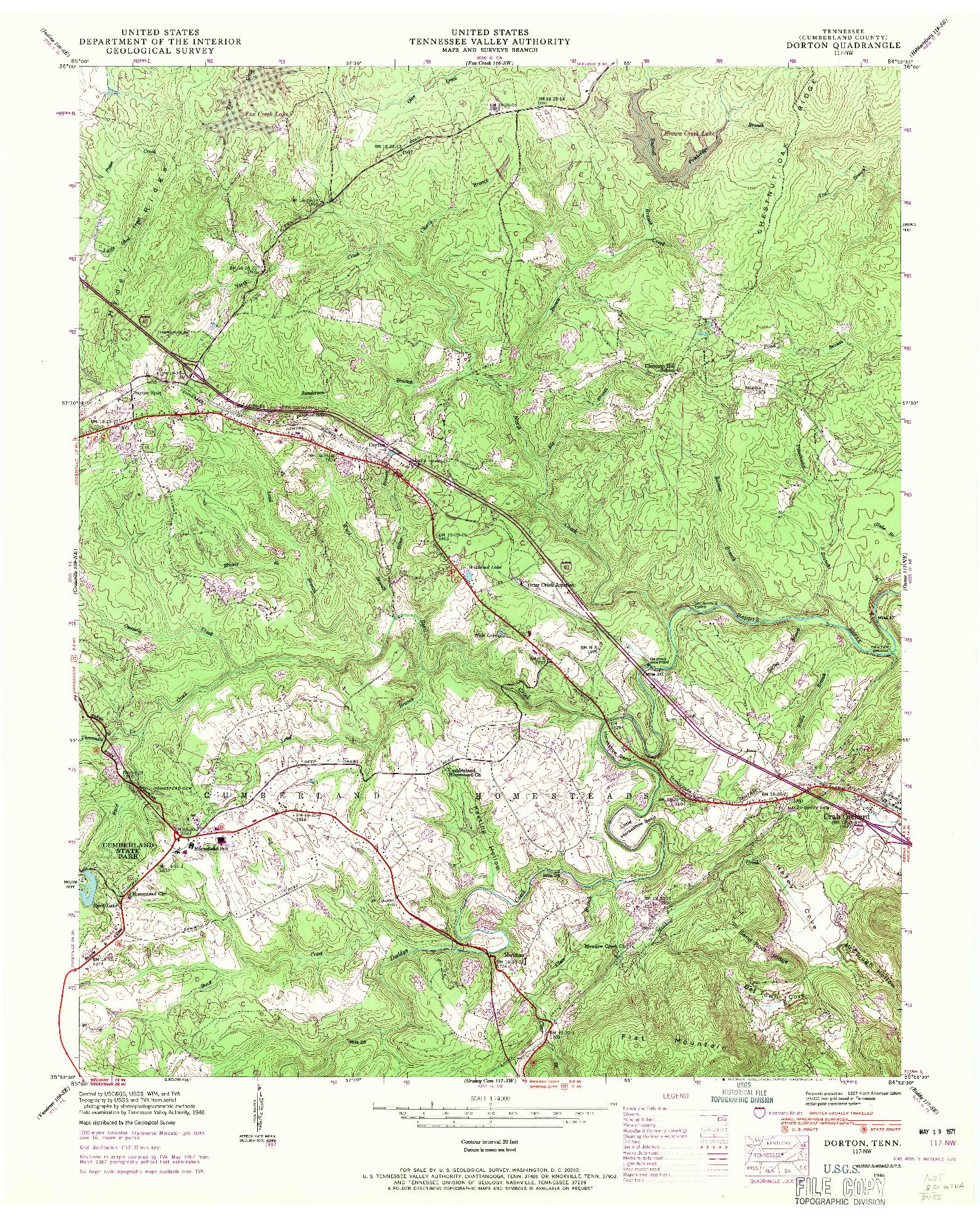 USGS 1:24000-SCALE QUADRANGLE FOR DORTON, TN 1946