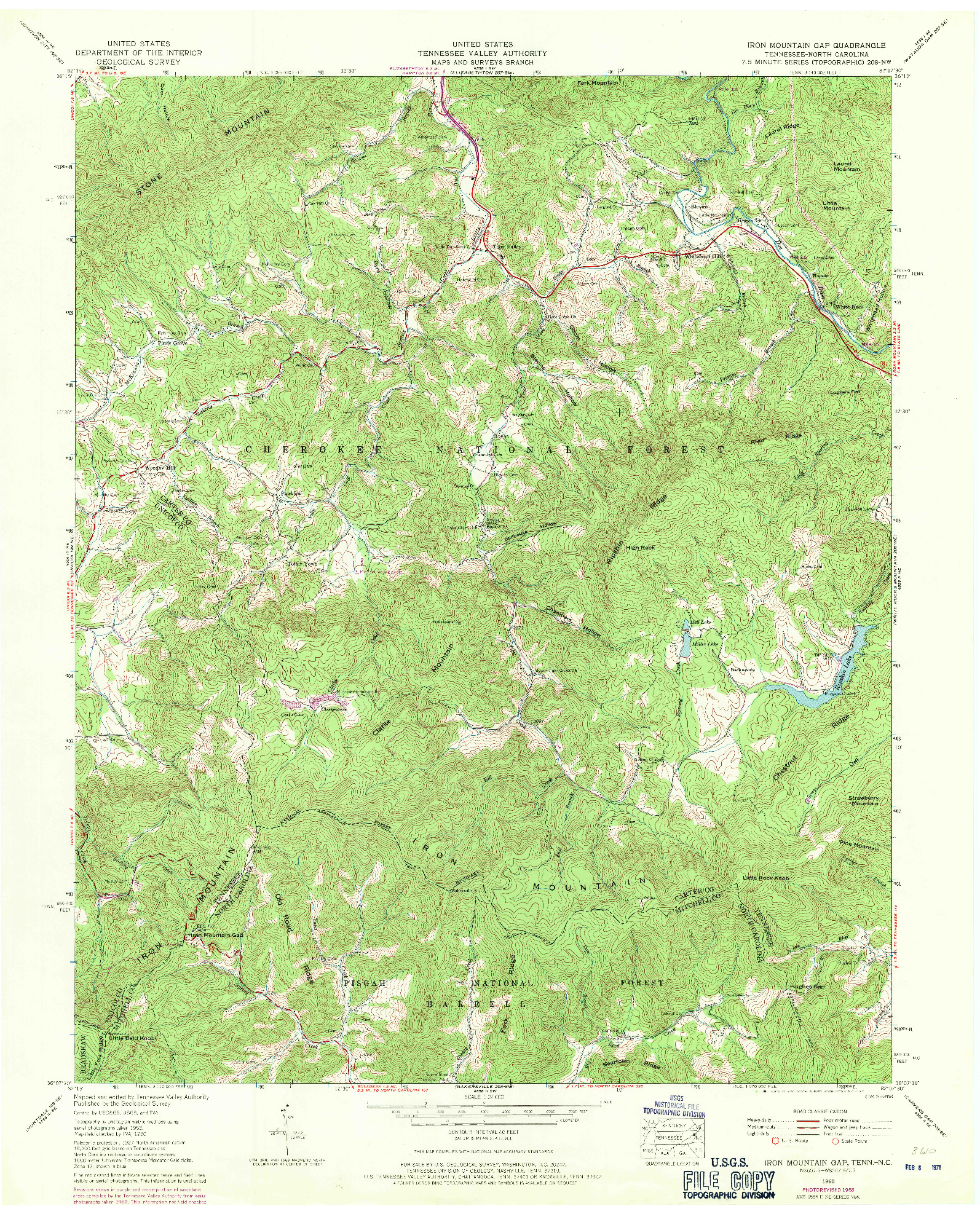 USGS 1:24000-SCALE QUADRANGLE FOR IRON MOUNTAIN GAP, TN 1960