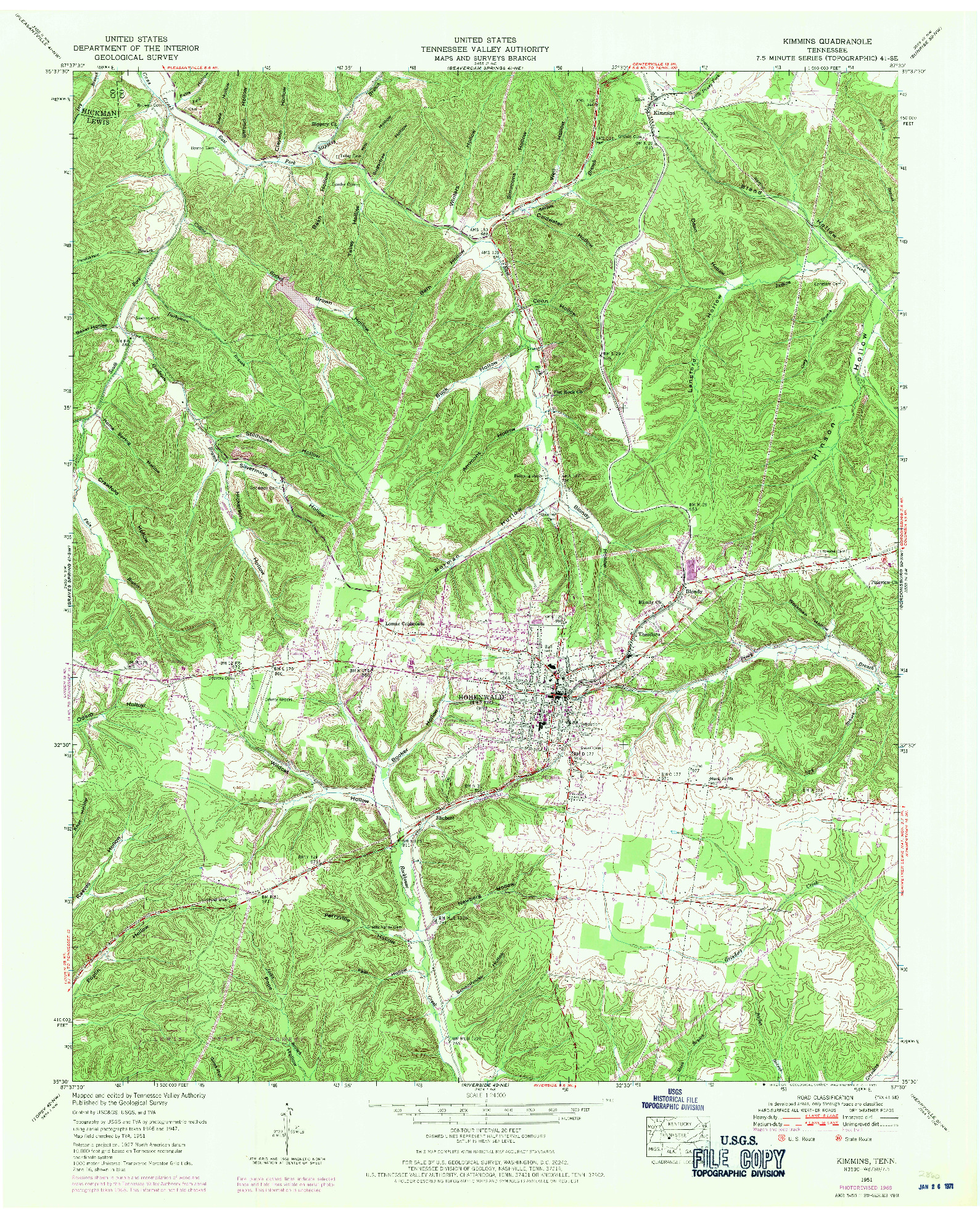 USGS 1:24000-SCALE QUADRANGLE FOR KIMMINS, TN 1951