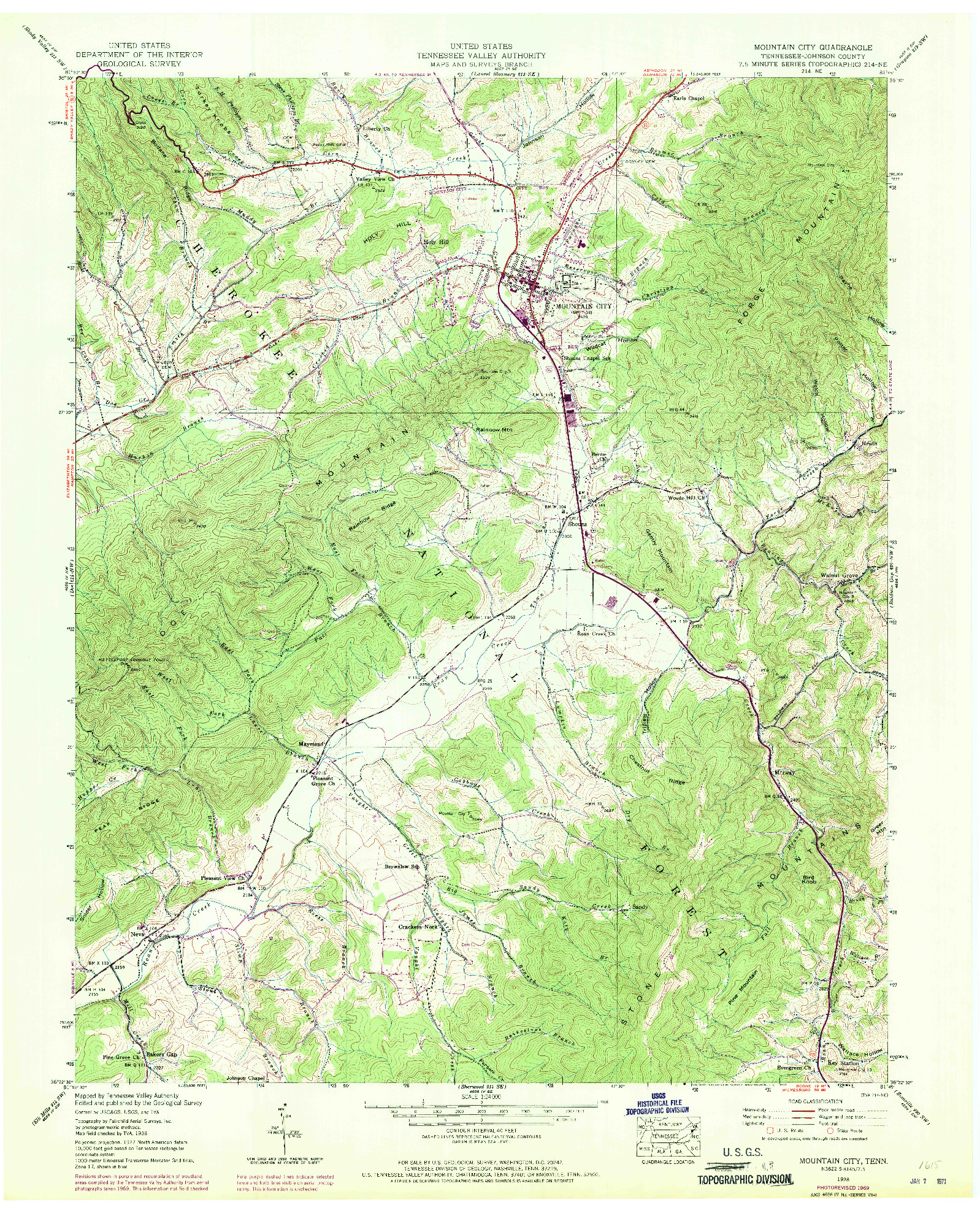 USGS 1:24000-SCALE QUADRANGLE FOR MOUNTAIN CITY, TN 1938