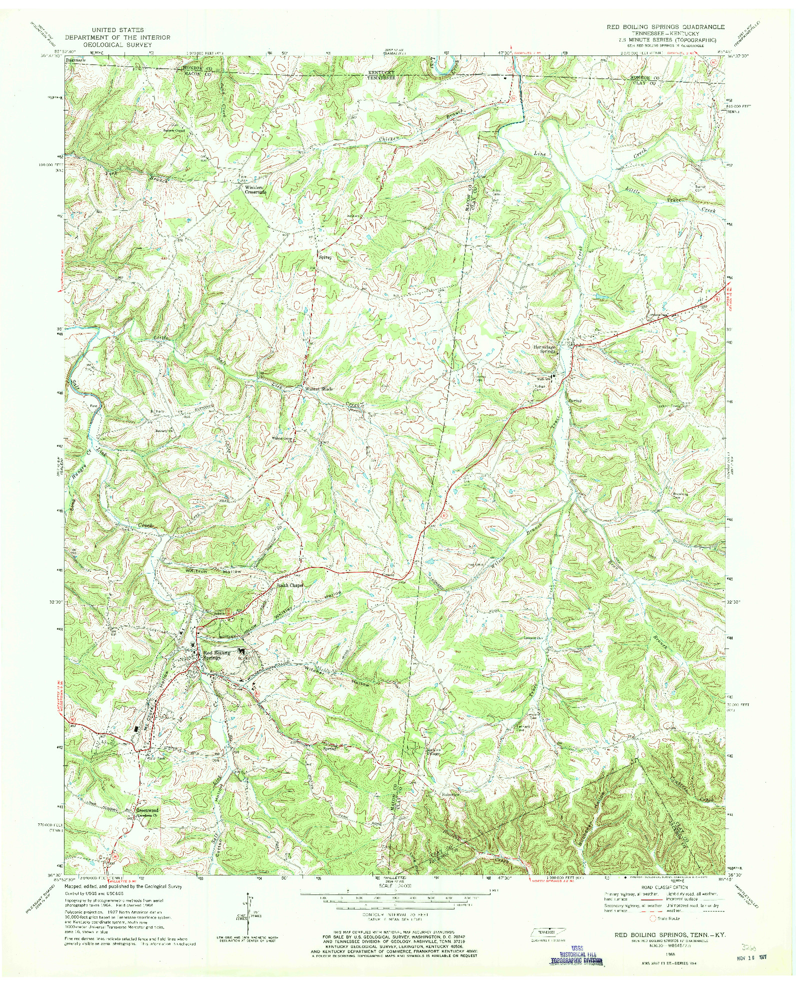 USGS 1:24000-SCALE QUADRANGLE FOR RED BOILING SPRINGS, TN 1968