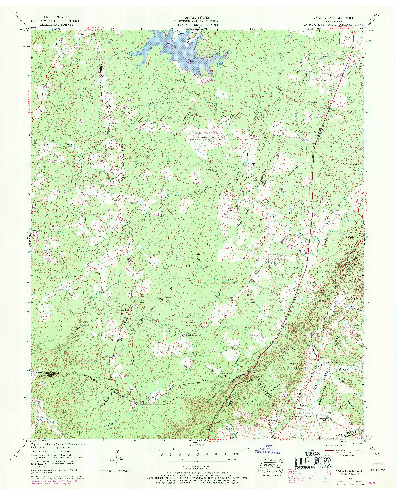 USGS 1:24000-SCALE QUADRANGLE FOR VANDEVER, TN 1956