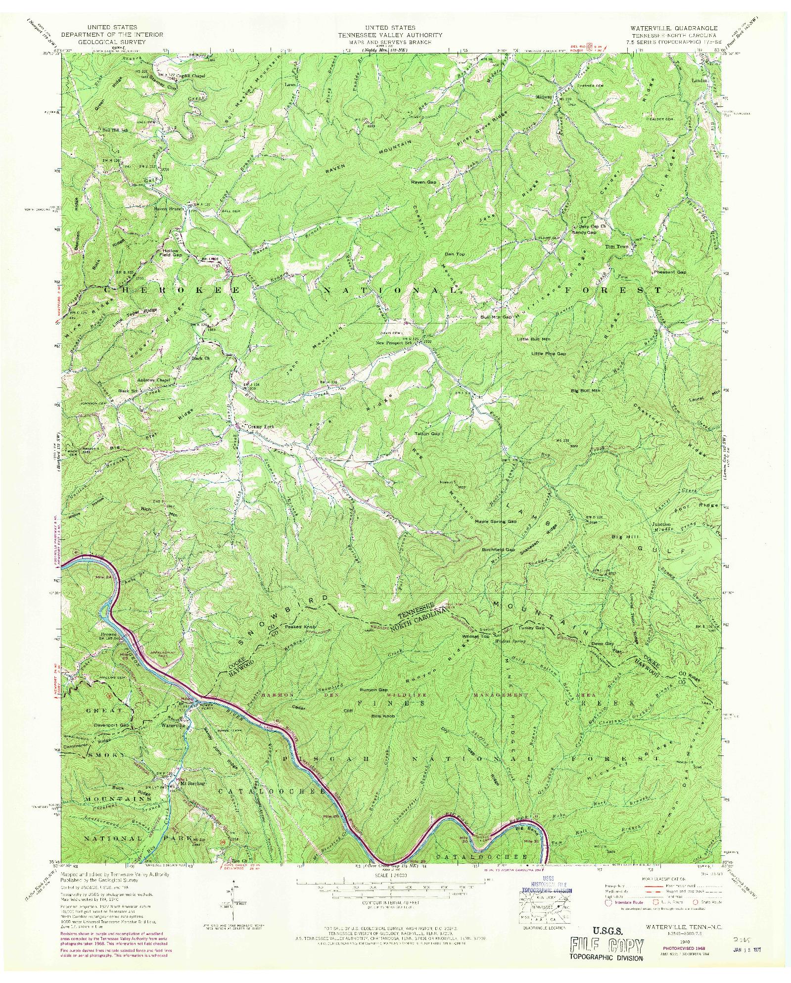 USGS 1:24000-SCALE QUADRANGLE FOR WATERVILLE, TN 1940