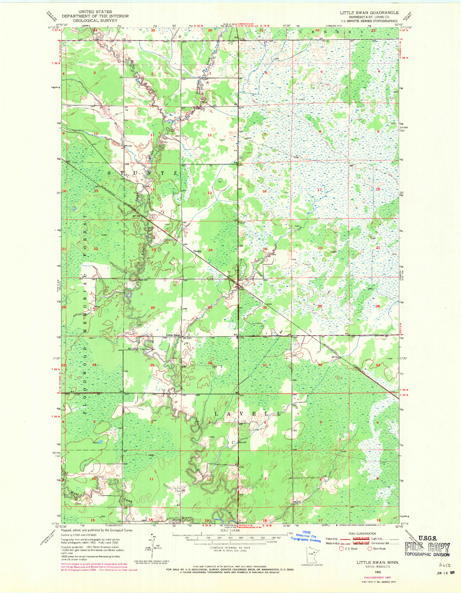 USGS 1:24000-SCALE QUADRANGLE FOR LITTLE SWAN, MN 1952