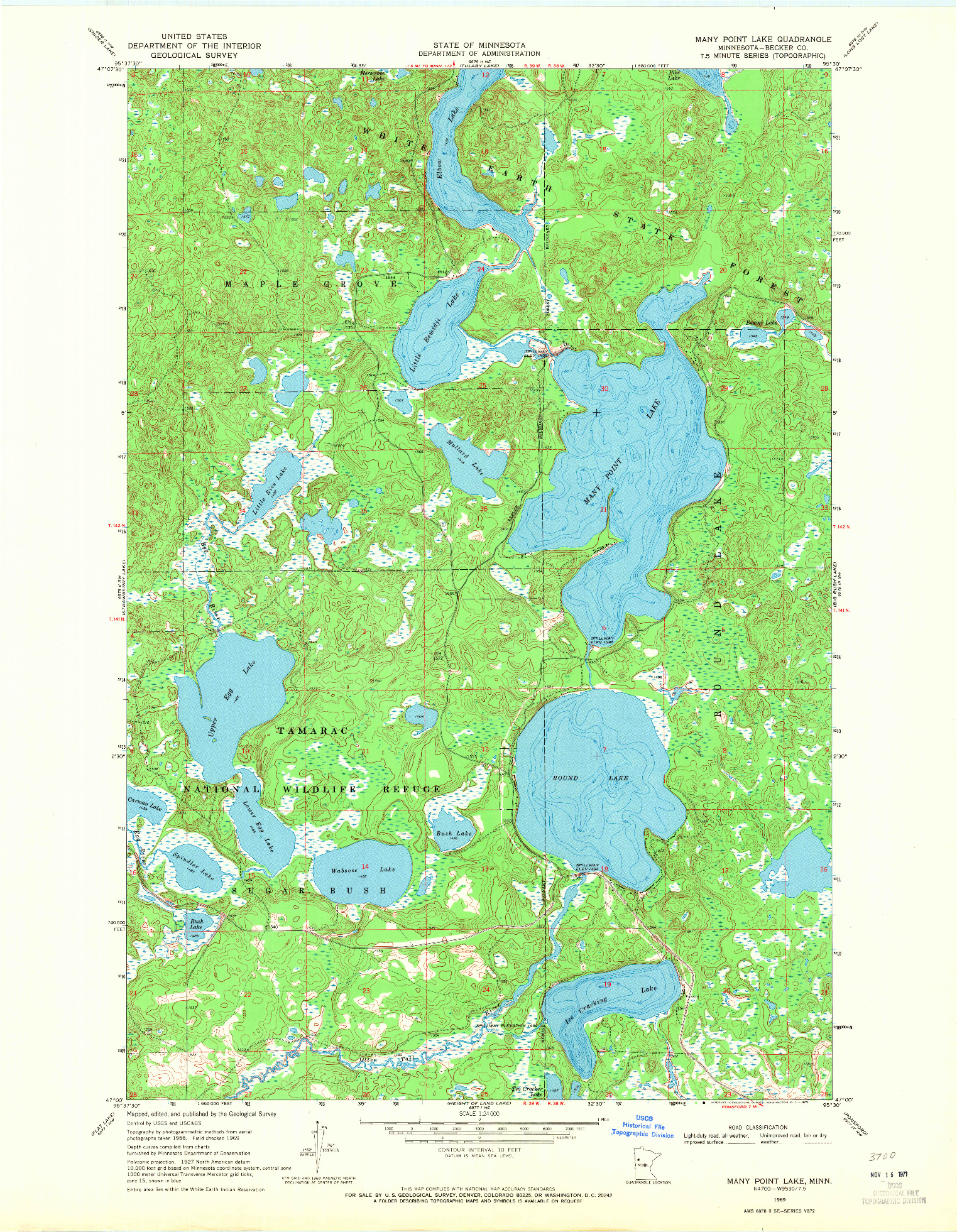 USGS 1:24000-SCALE QUADRANGLE FOR MANY POINT LAKE, MN 1969