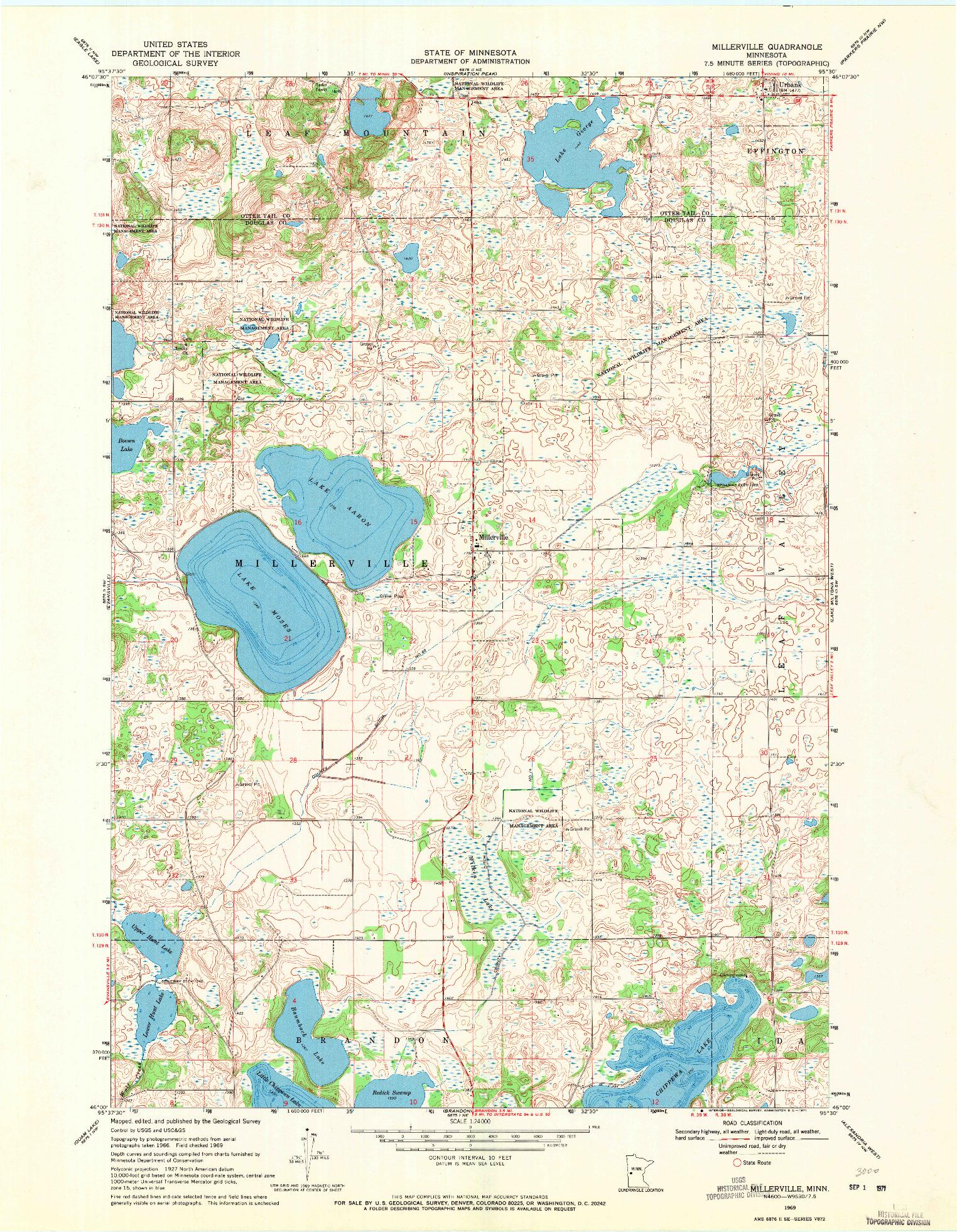 USGS 1:24000-SCALE QUADRANGLE FOR MILLERVILLE, MN 1969