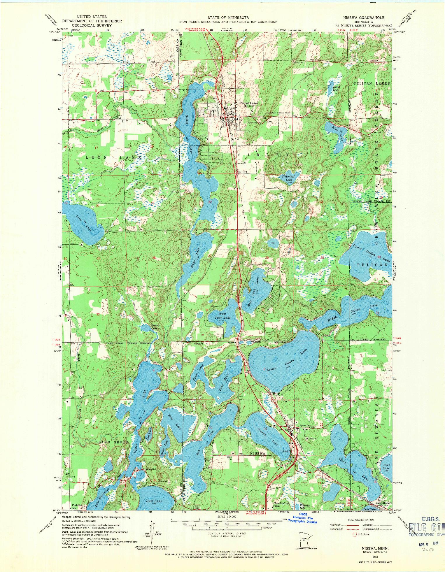 USGS 1:24000-SCALE QUADRANGLE FOR NISSWA, MN 1959