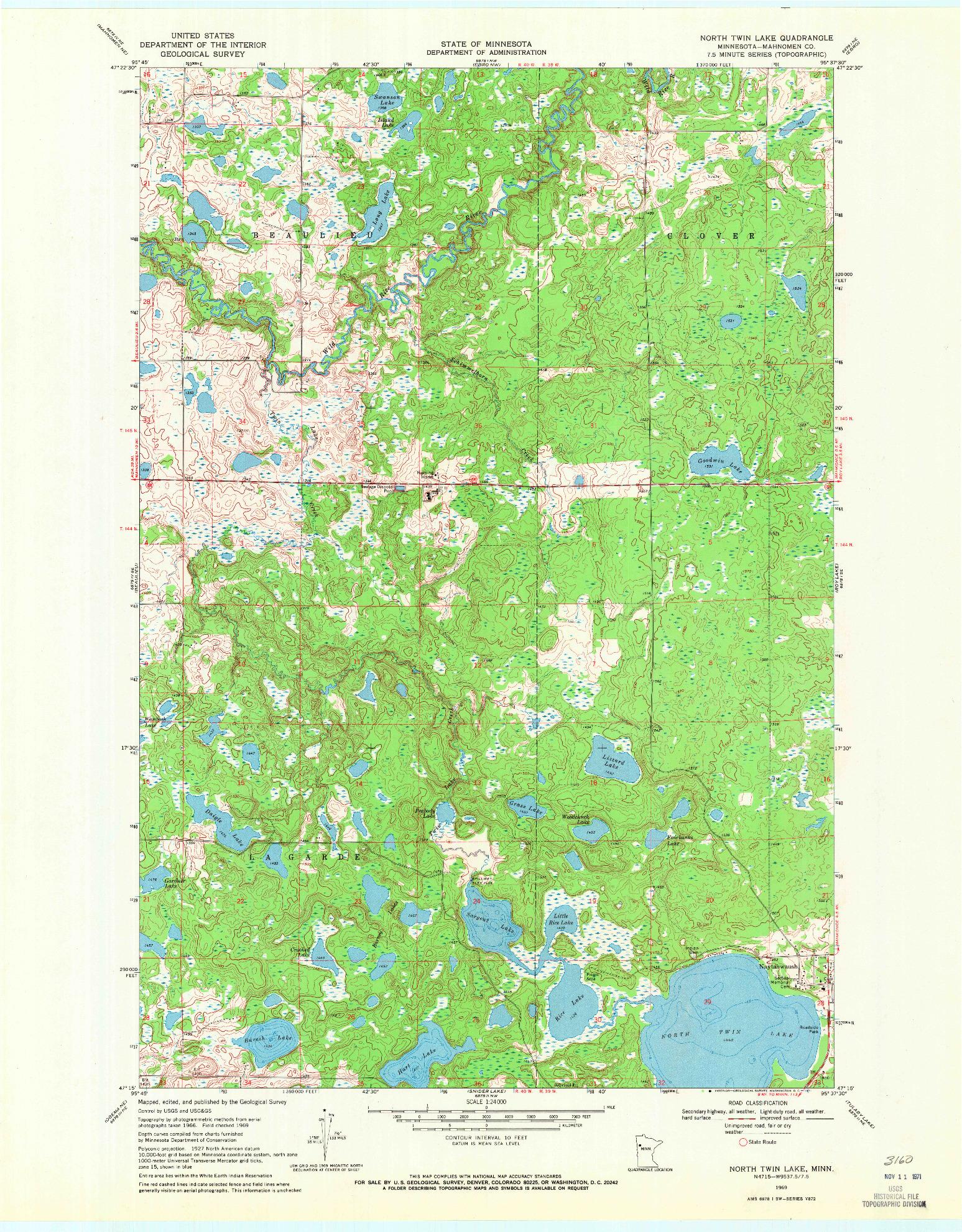 USGS 1:24000-SCALE QUADRANGLE FOR NORTH TWIN LAKE, MN 1969