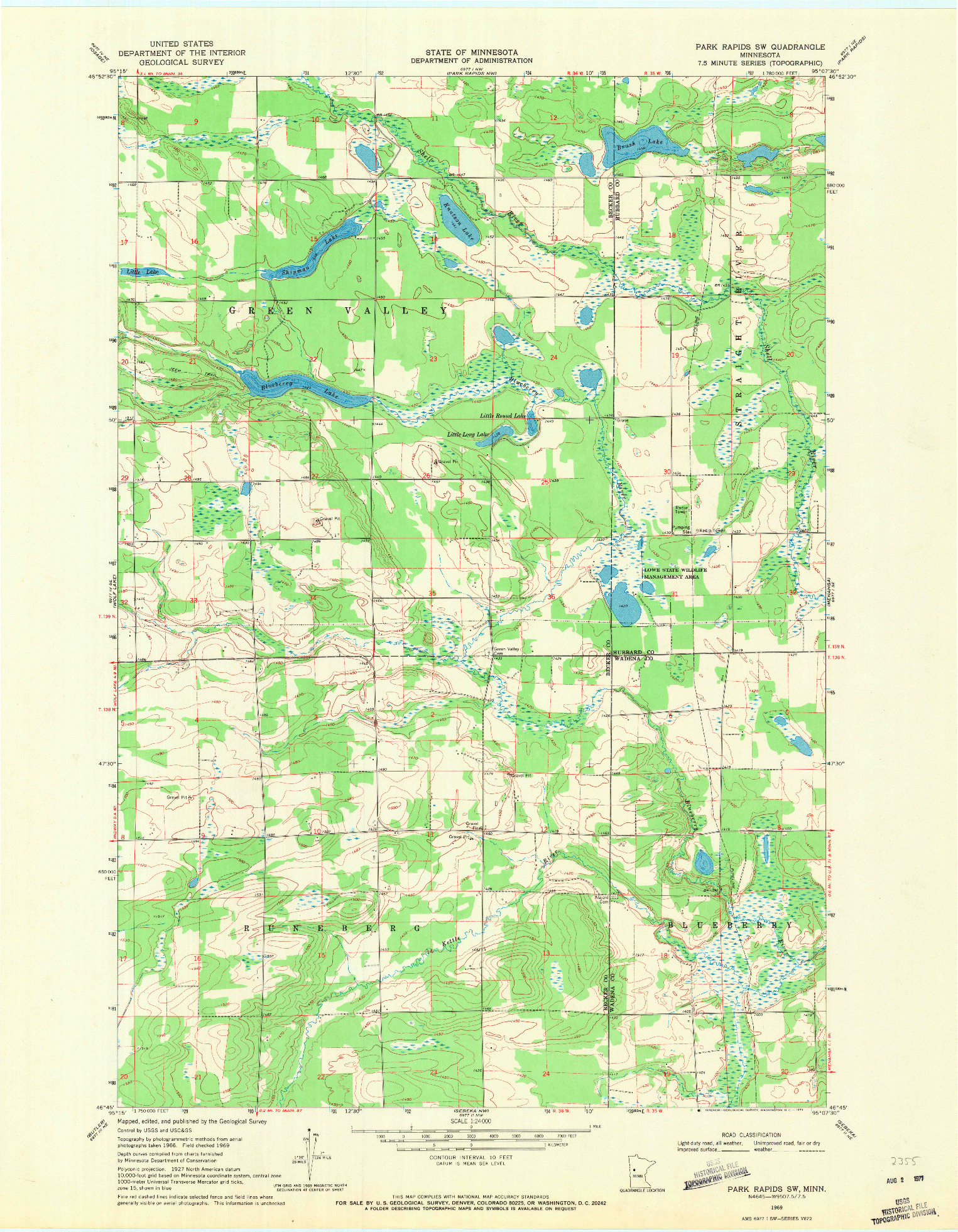 USGS 1:24000-SCALE QUADRANGLE FOR PARK RAPIDS SW, MN 1969