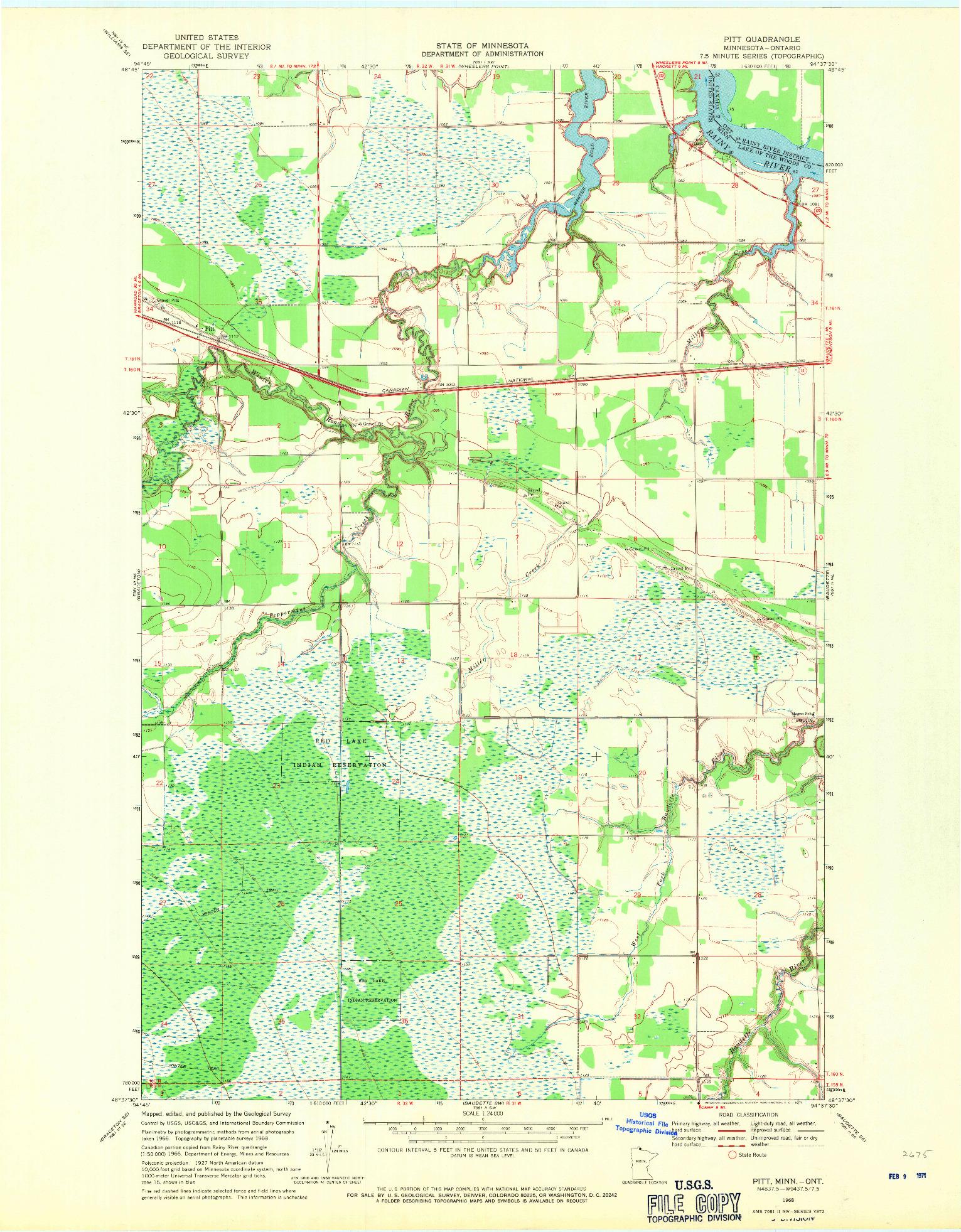USGS 1:24000-SCALE QUADRANGLE FOR PITT, MN 1968