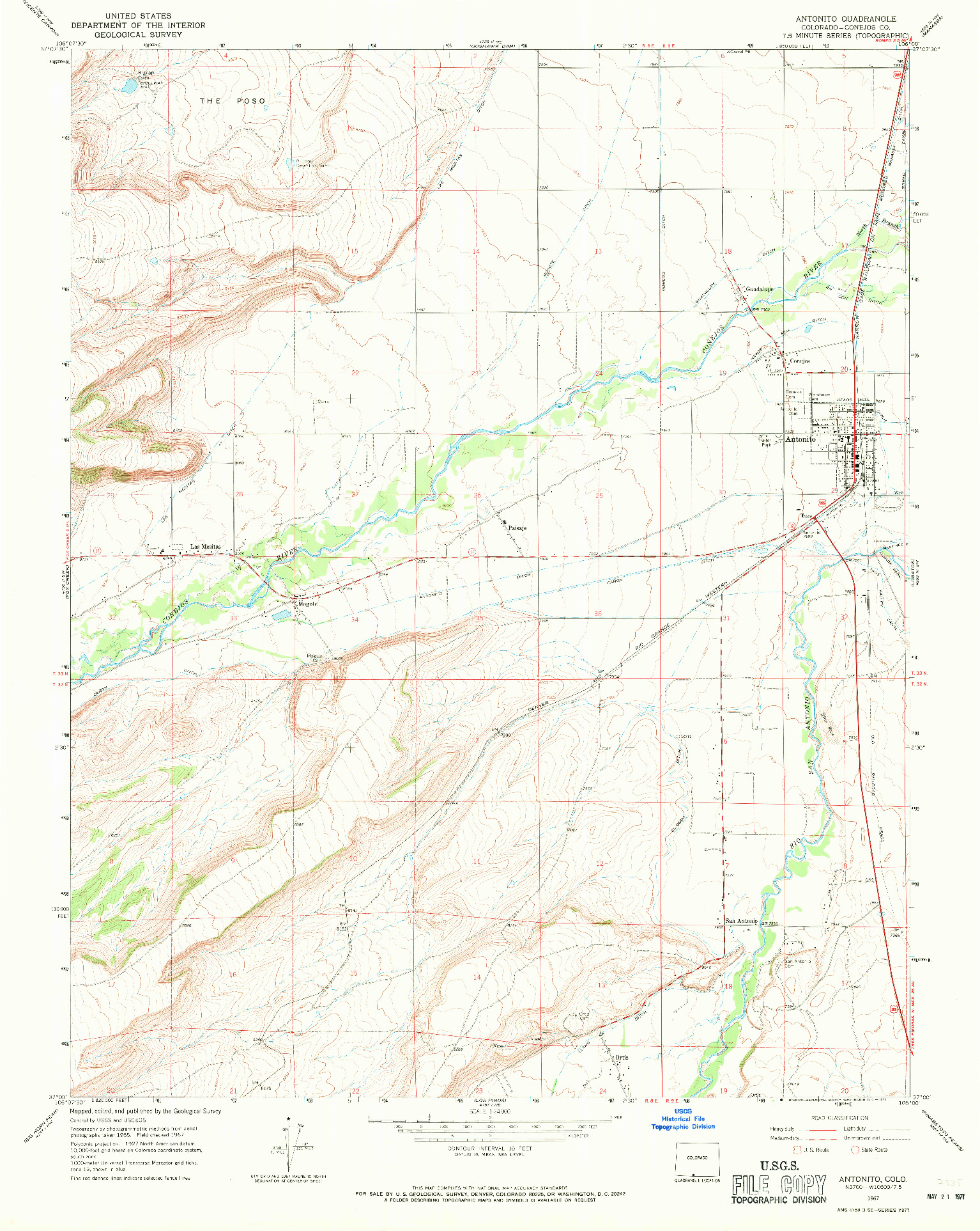 USGS 1:24000-SCALE QUADRANGLE FOR ANTONITO, CO 1967